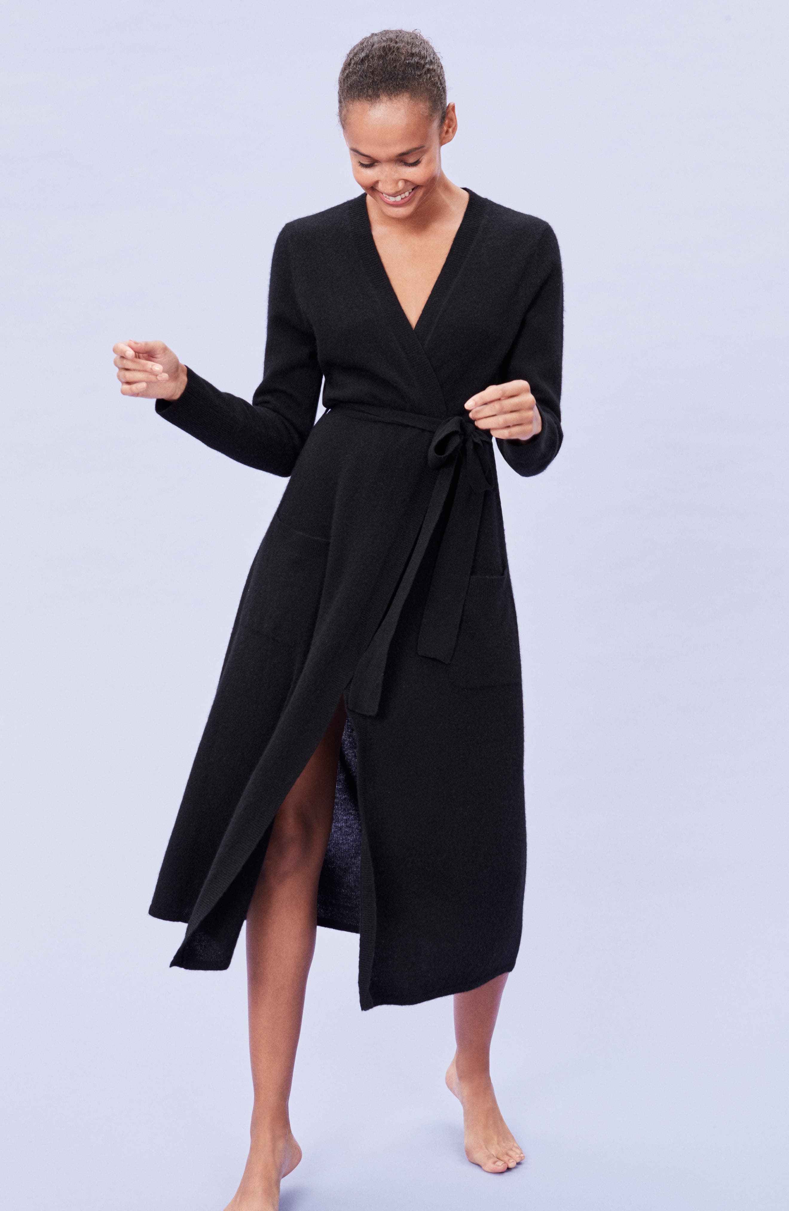 Cashmere Robe,                             Alternate thumbnail 7, color,                             BLACK