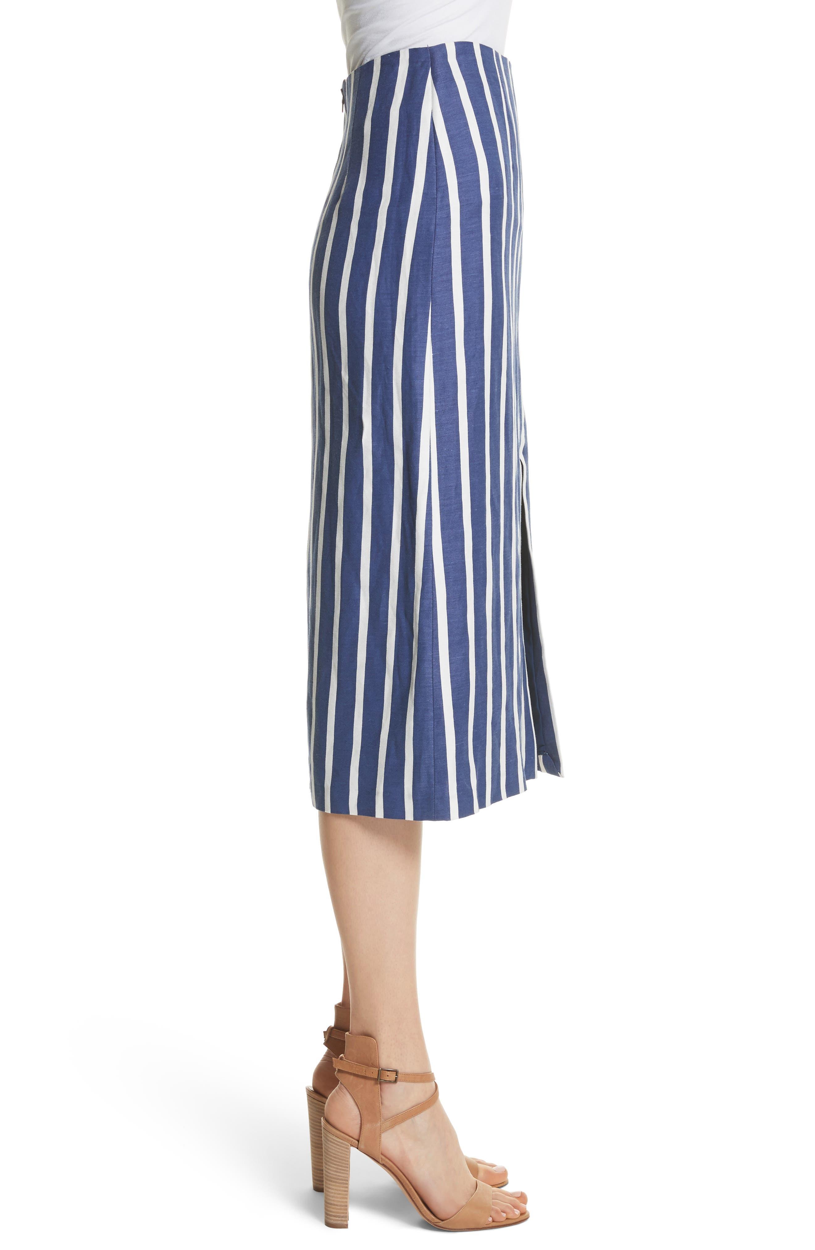 Sabrena Stripe Front Slit Linen Blend Midi Skirt,                             Alternate thumbnail 3, color,                             475