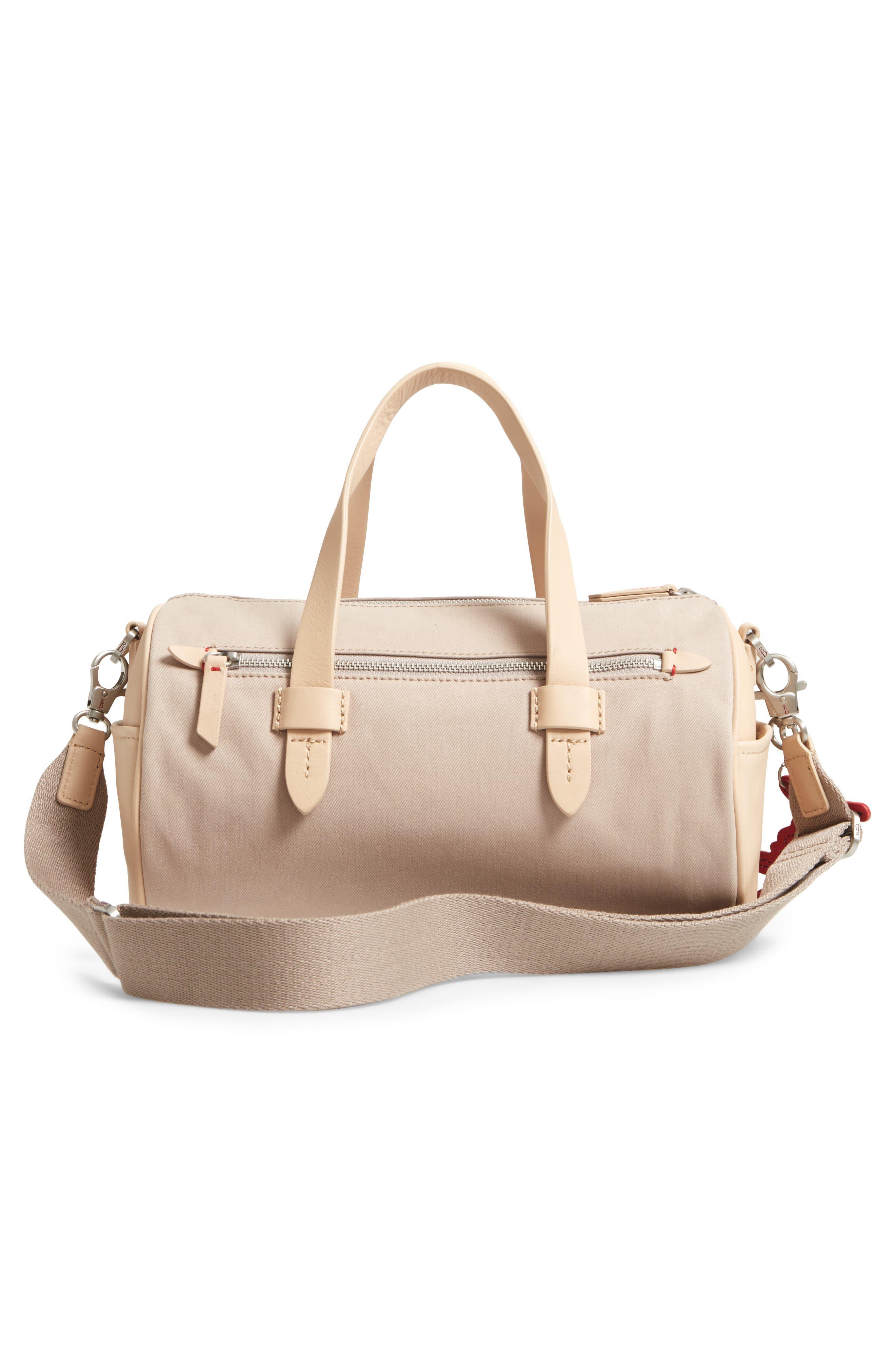Mini Carml Leather & Canvas Barrel Bag,                             Alternate thumbnail 3, color,                             050
