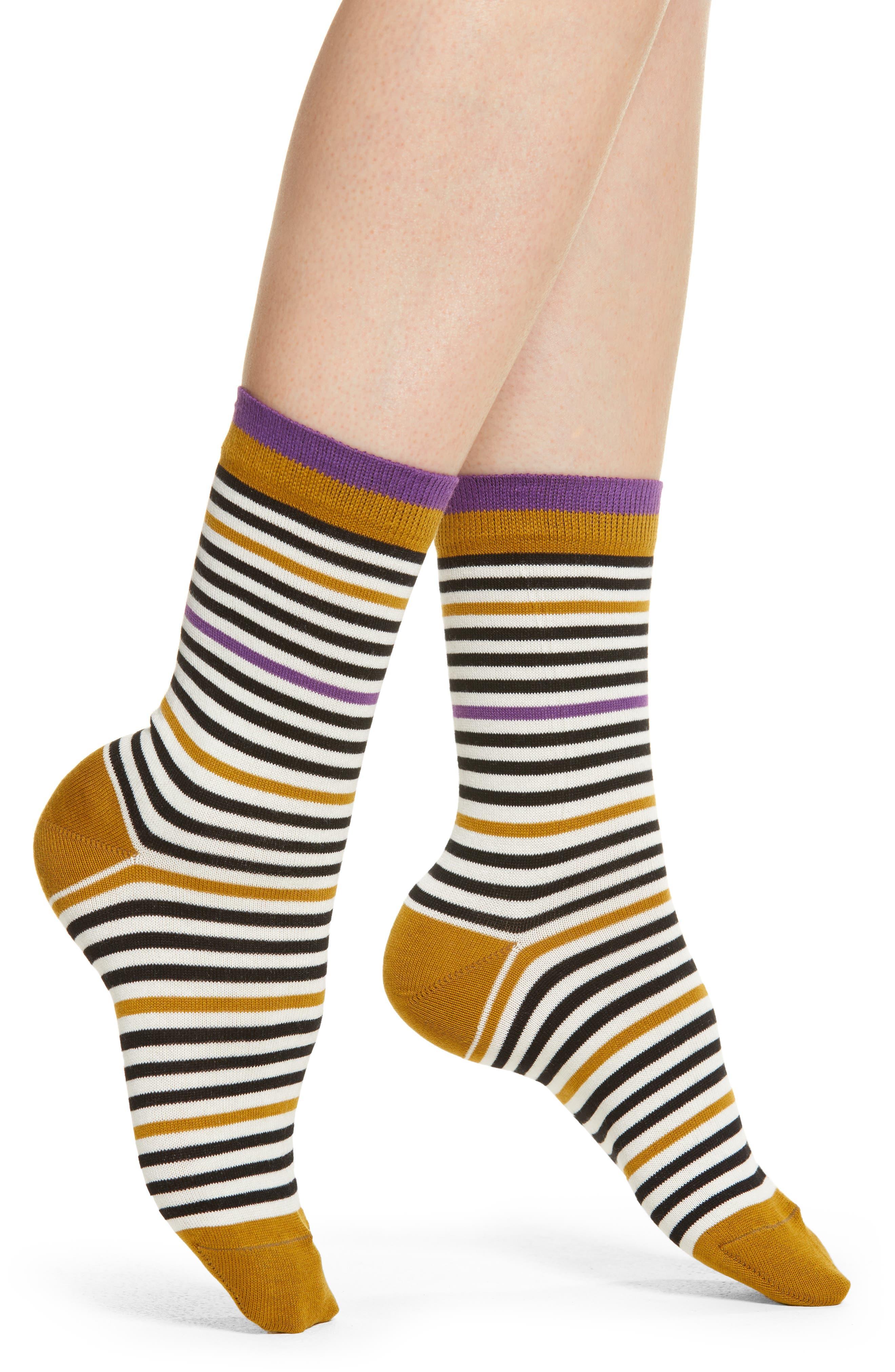 Henri Stripe Socks in Dark Violet