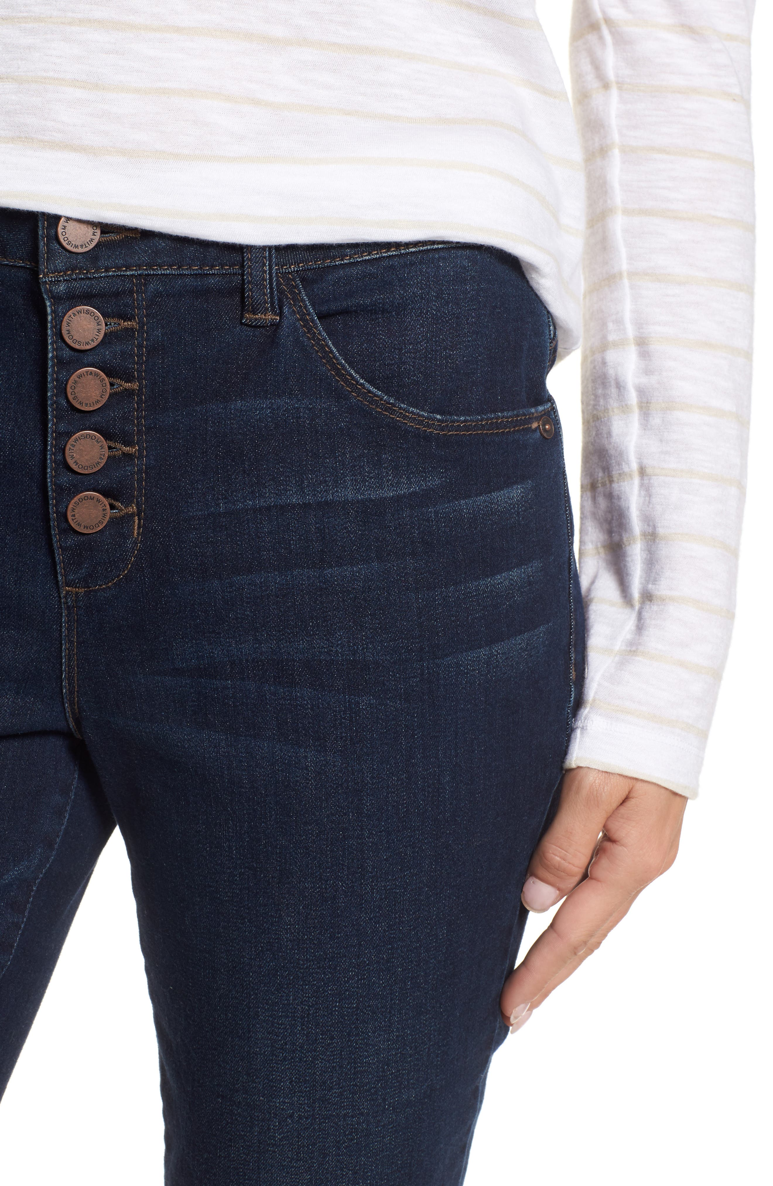 Exposed Button Fly Skinny Jeans,                             Alternate thumbnail 4, color,                             420