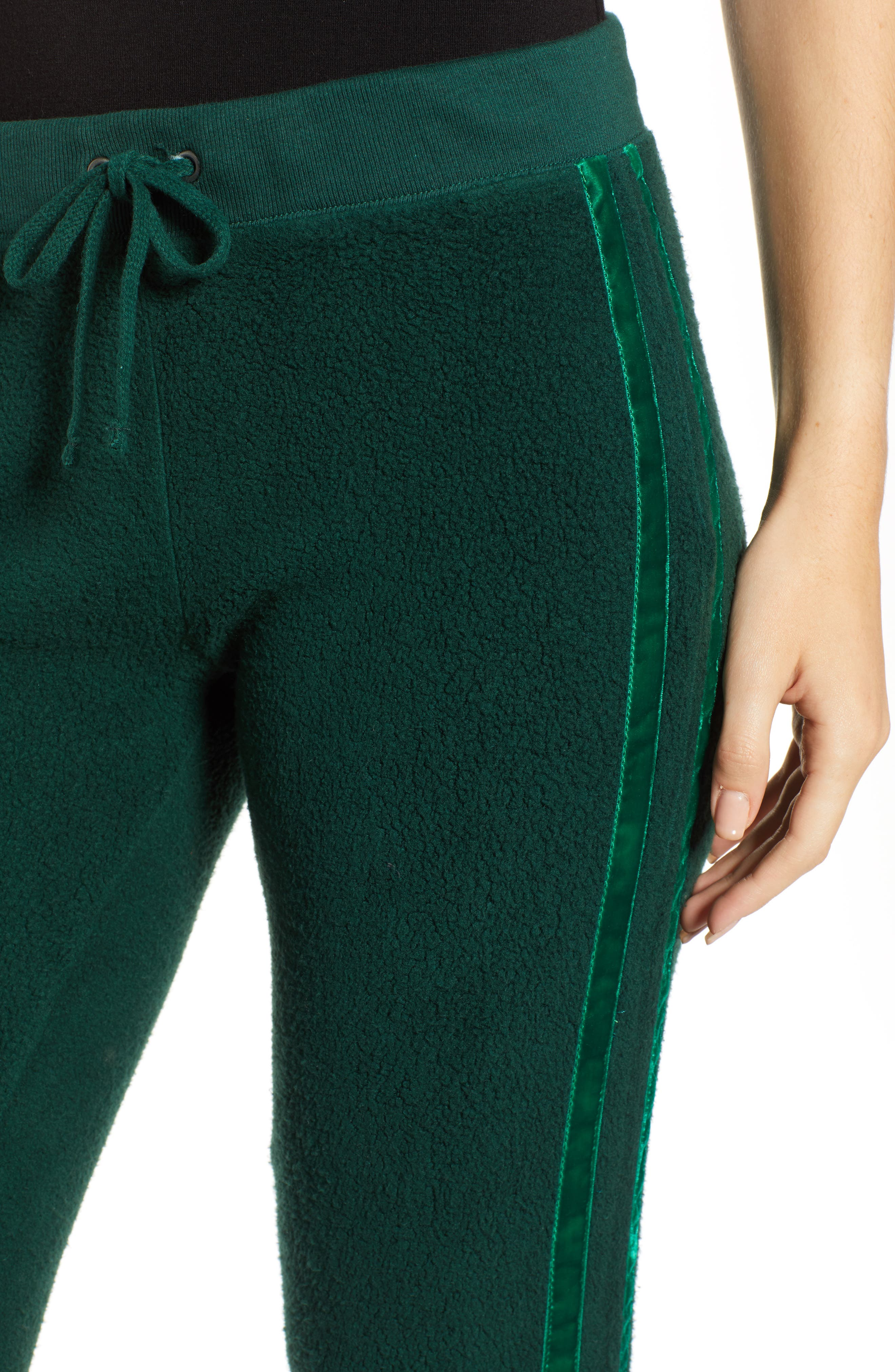 Velvet Stripe Sweatpants,                             Alternate thumbnail 4, color,                             BOTANICAL GREEN