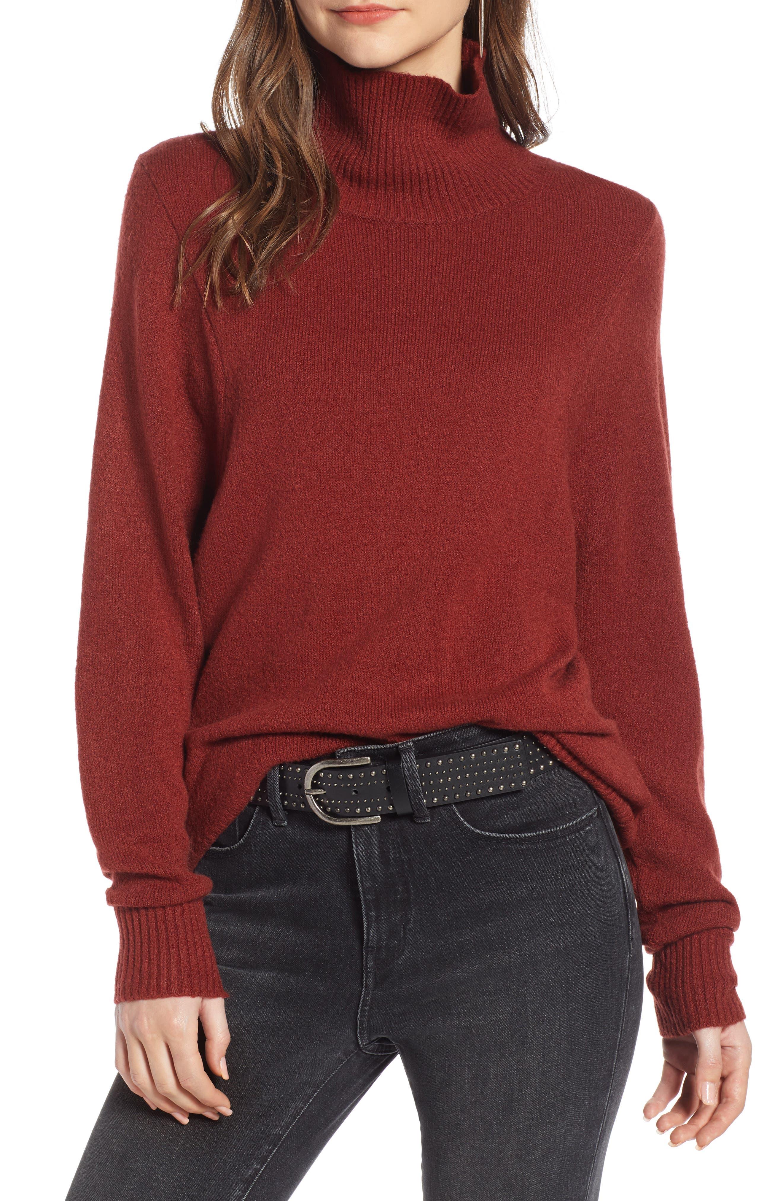 Seasonal Pullover Sweater,                             Main thumbnail 1, color,                             BURGUNDY RUSSET
