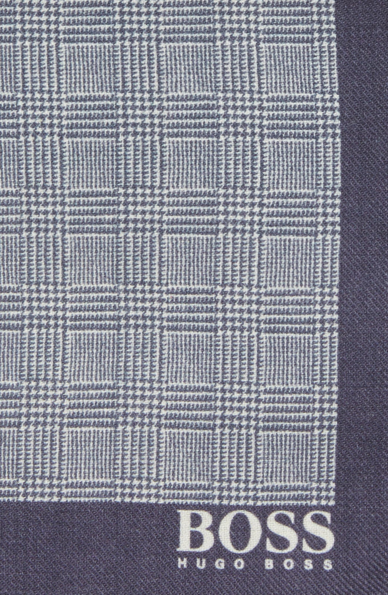 Plaid Wool Pocket Square,                             Alternate thumbnail 3, color,                             BLUE