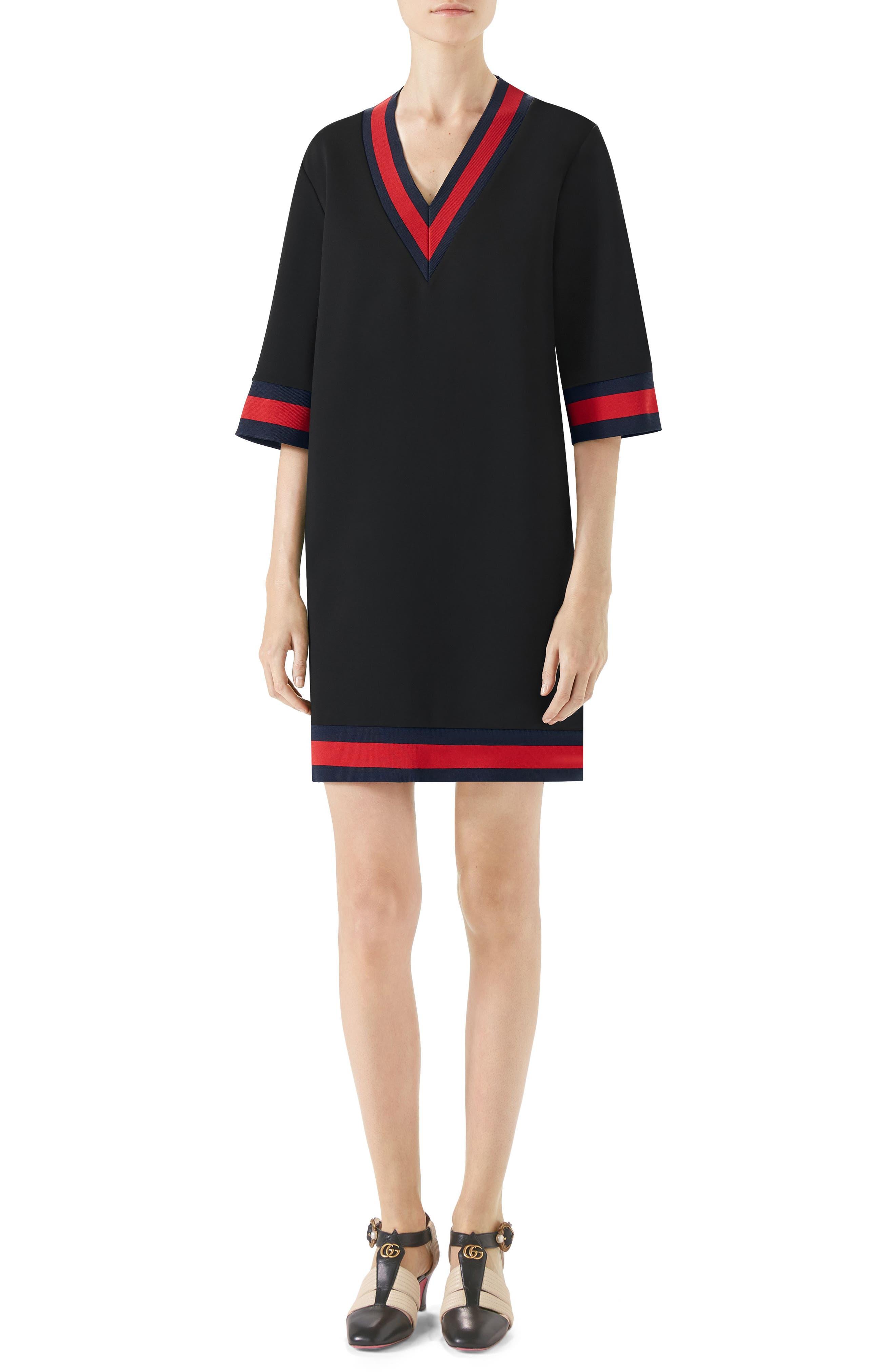 Stripe Trim Shift Dress,                             Main thumbnail 1, color,                             BLACK