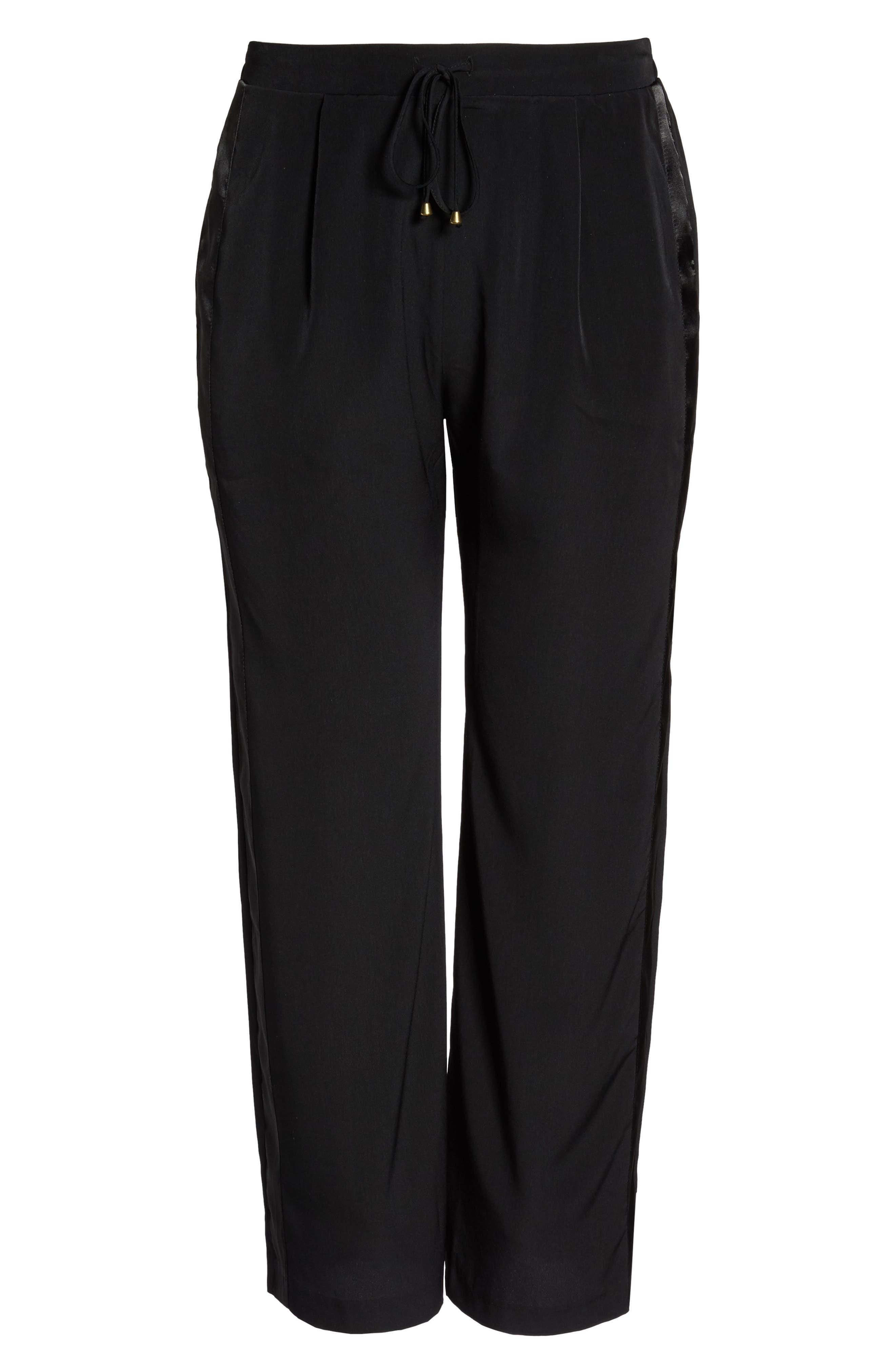 Satin Stripe Wide Leg Pants,                             Alternate thumbnail 6, color,                             002