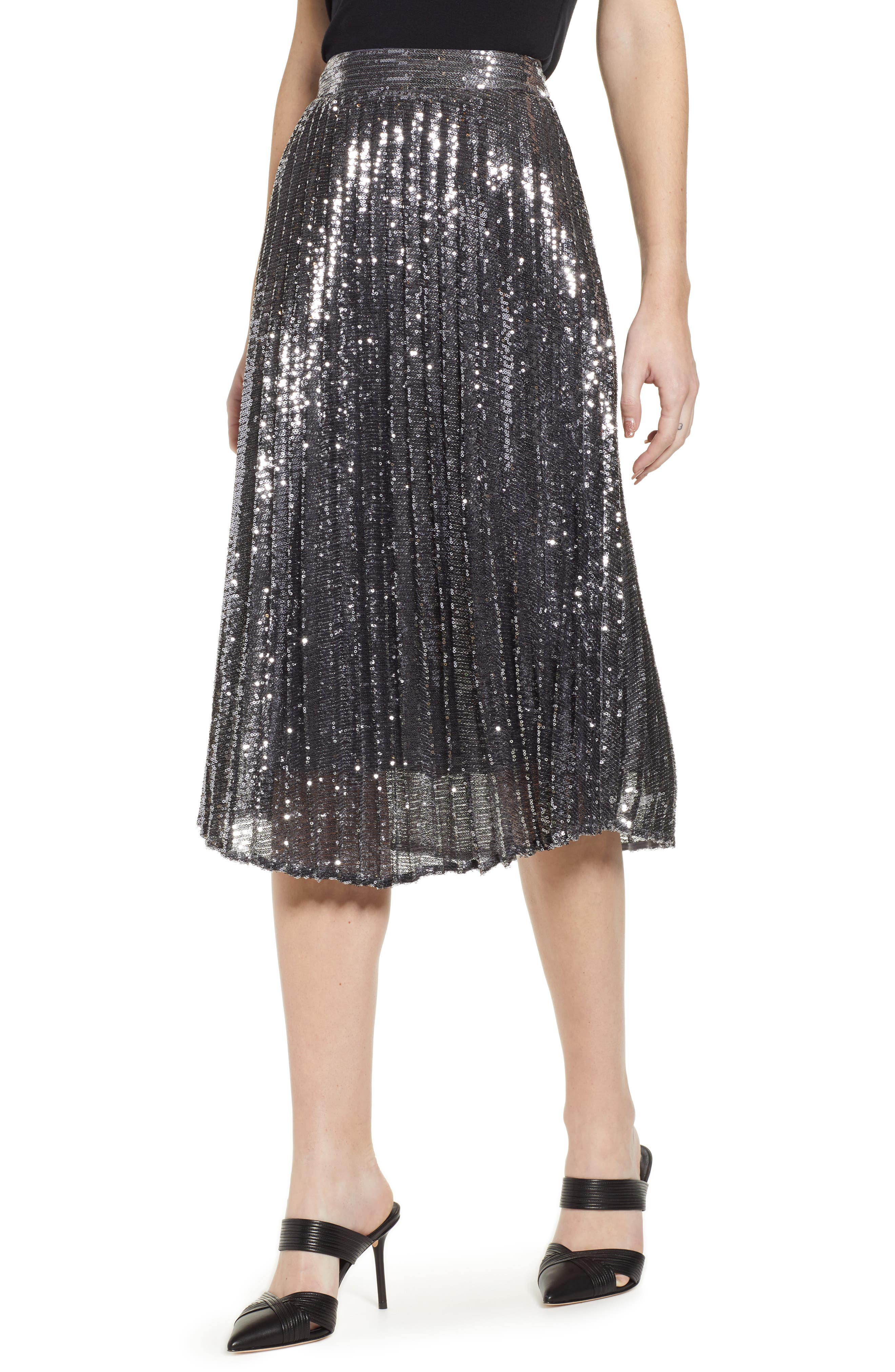 CHELSEA28,                             Sequin Skirt,                             Main thumbnail 1, color,                             SILVER