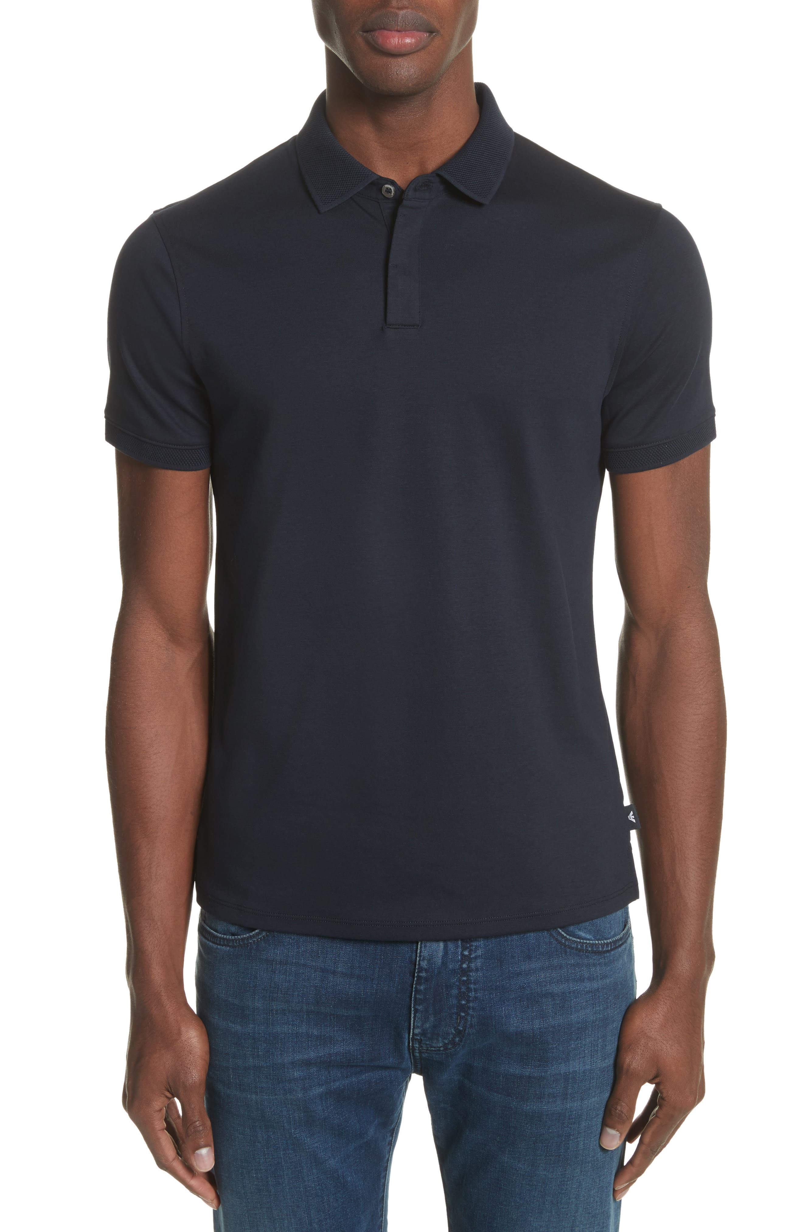 Men'S Solid Jersey Polo Shirt in Solid Dark Blue