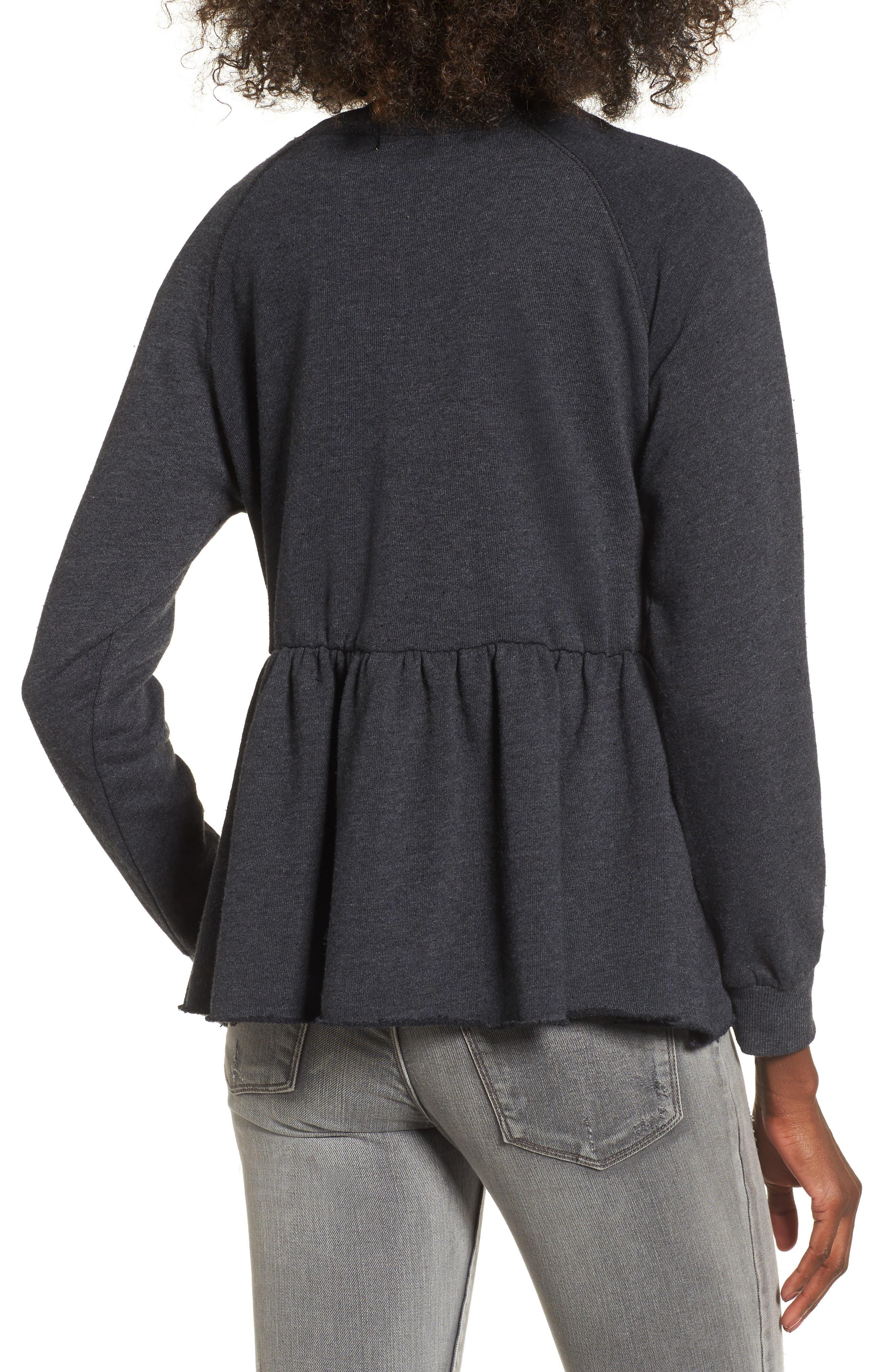 Viera Fleece Peplum Sweatshirt,                             Alternate thumbnail 3, color,
