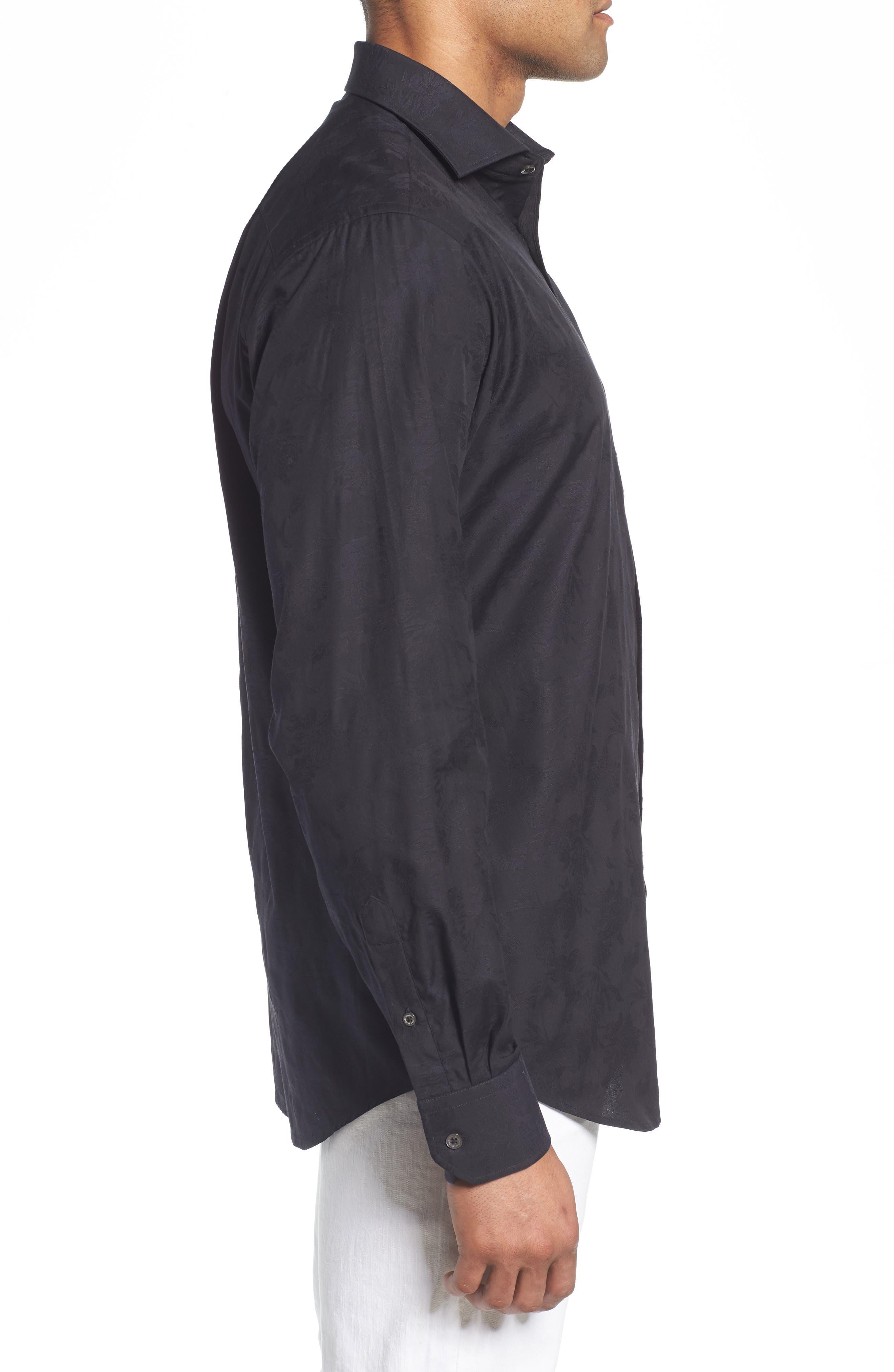 Classic Fit Tonal Jacquard Sport Shirt,                             Alternate thumbnail 3, color,                             BLACK