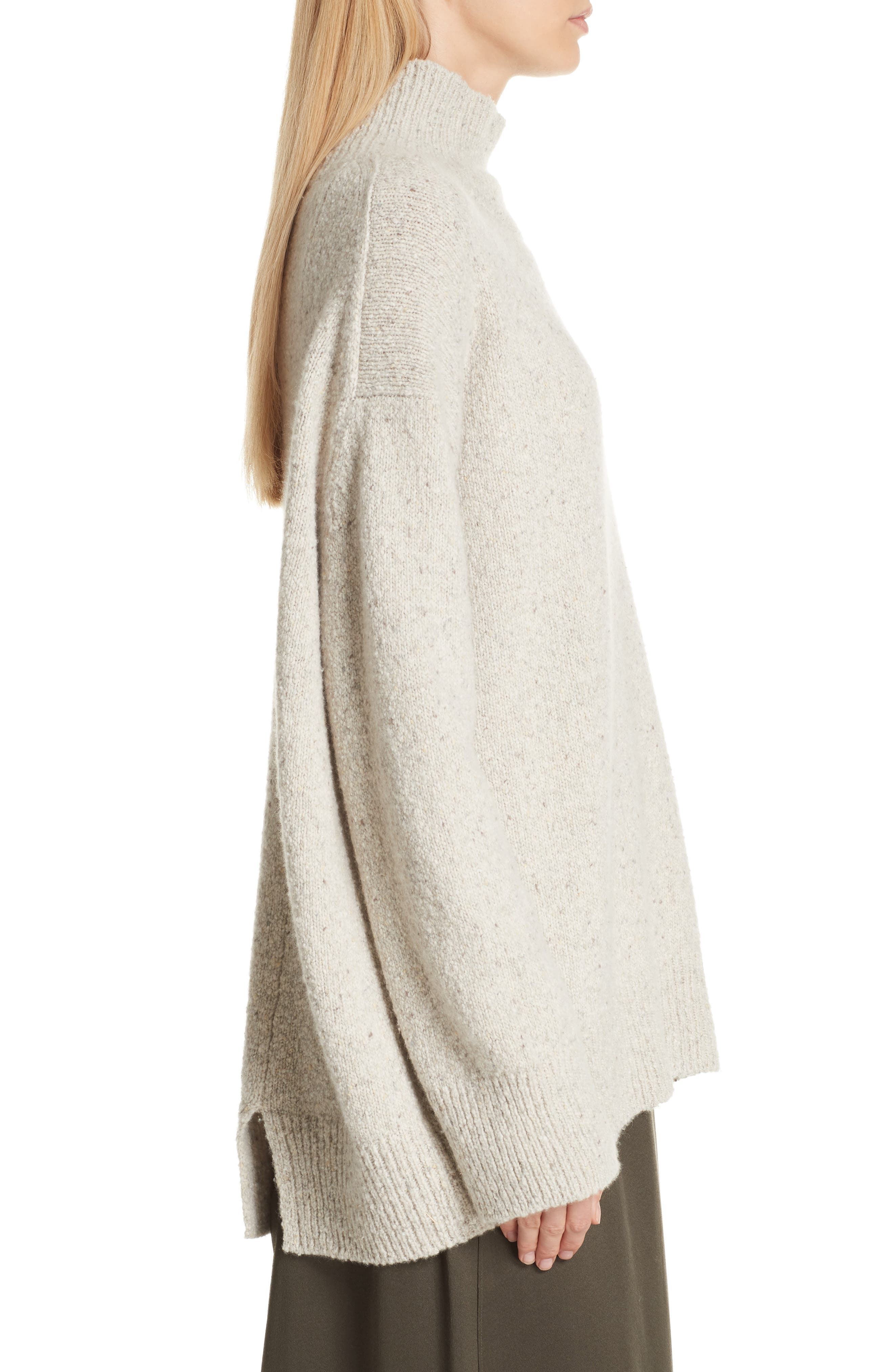 Oversize Cashmere Sweater,                             Alternate thumbnail 3, color,                             BUTTERMILK