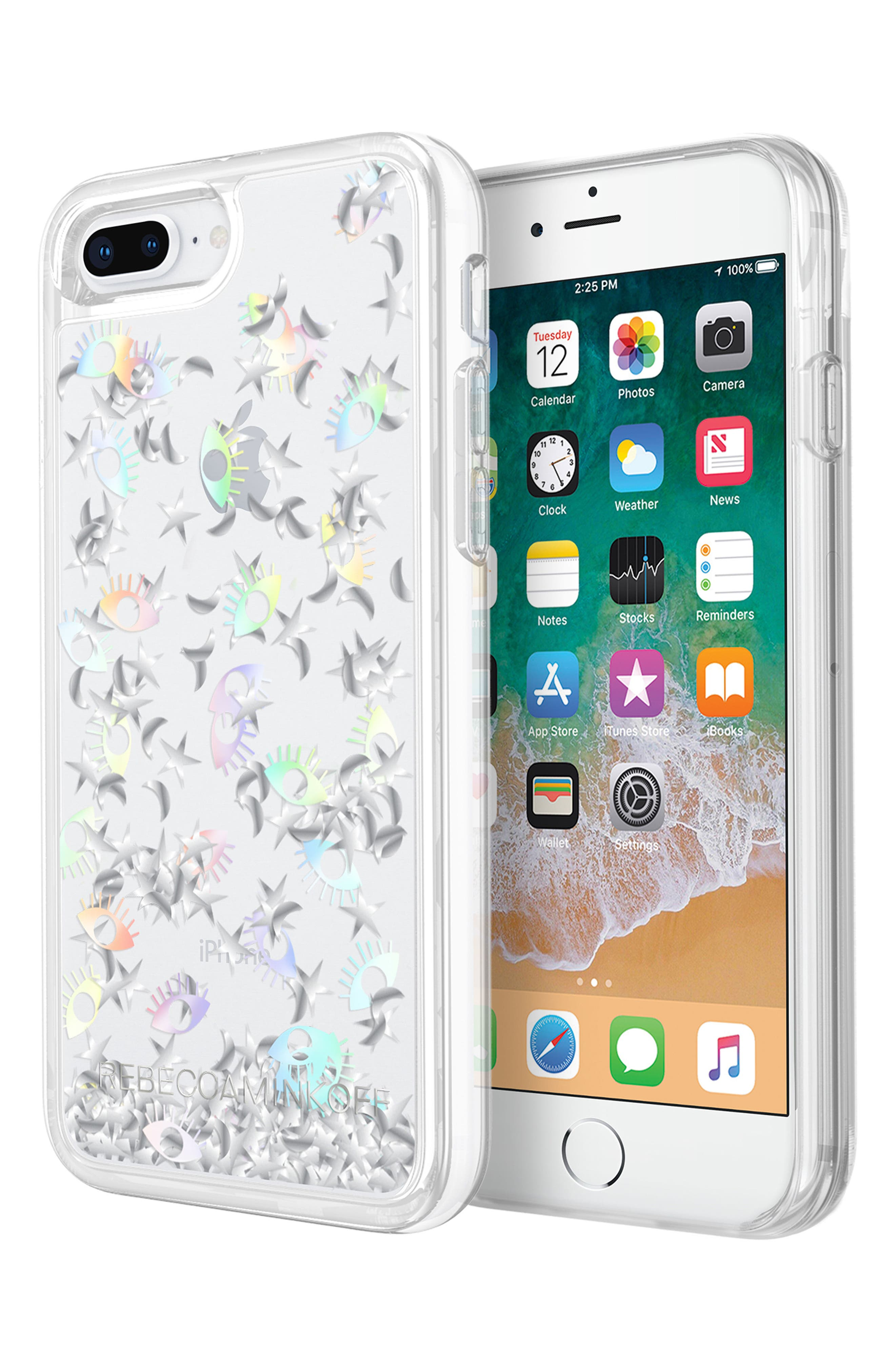 Galaxy Icon Glitterfall iPhone 7/8 & 7/8 Plus Case,                             Alternate thumbnail 5, color,                             HOLOGRAPHIC/ CLEAR