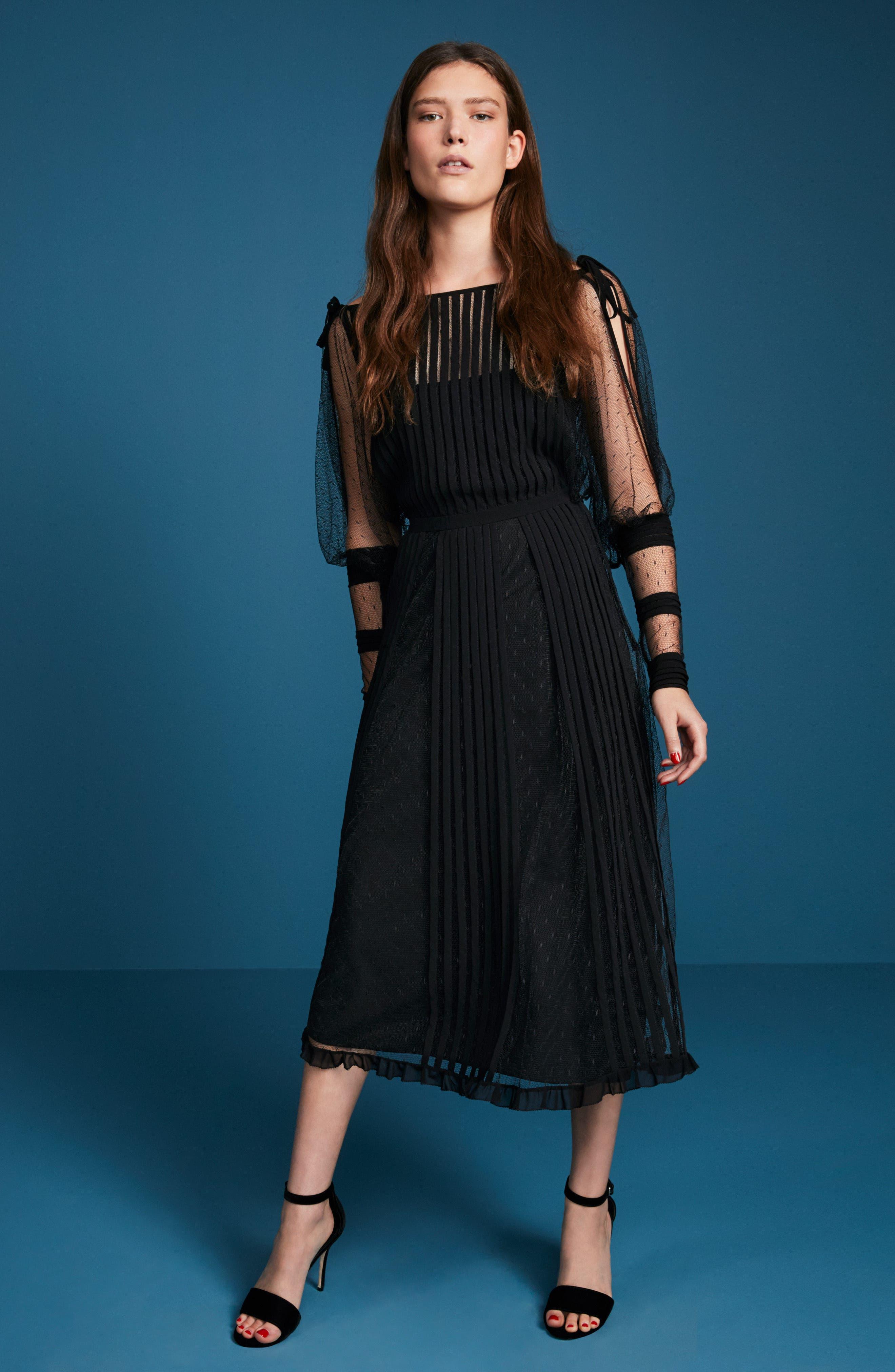 Point d'Esprit & Georgette Midi Dress,                             Alternate thumbnail 7, color,