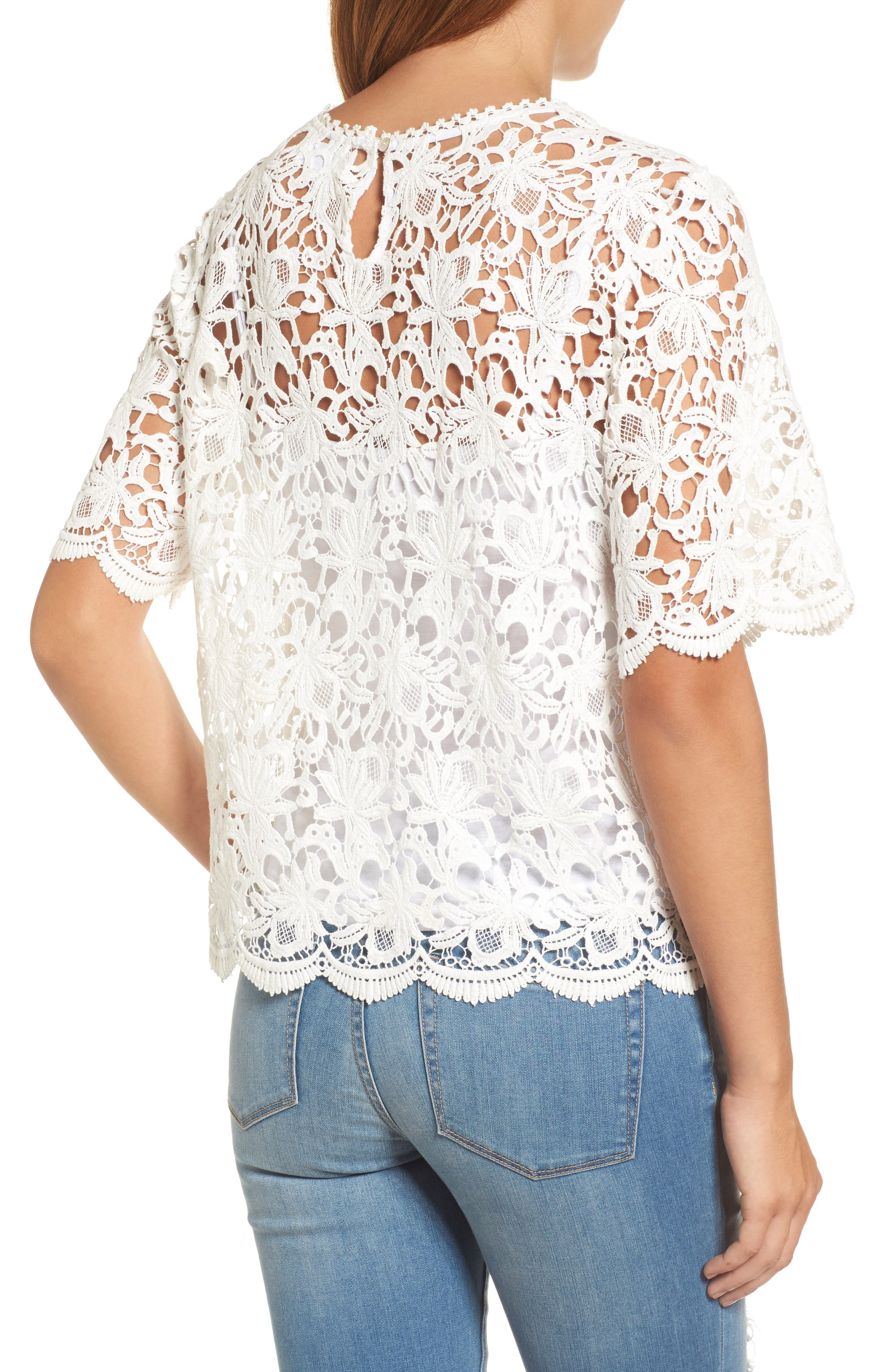 Lace Elbow Sleeve Blouse,                             Alternate thumbnail 3, color,