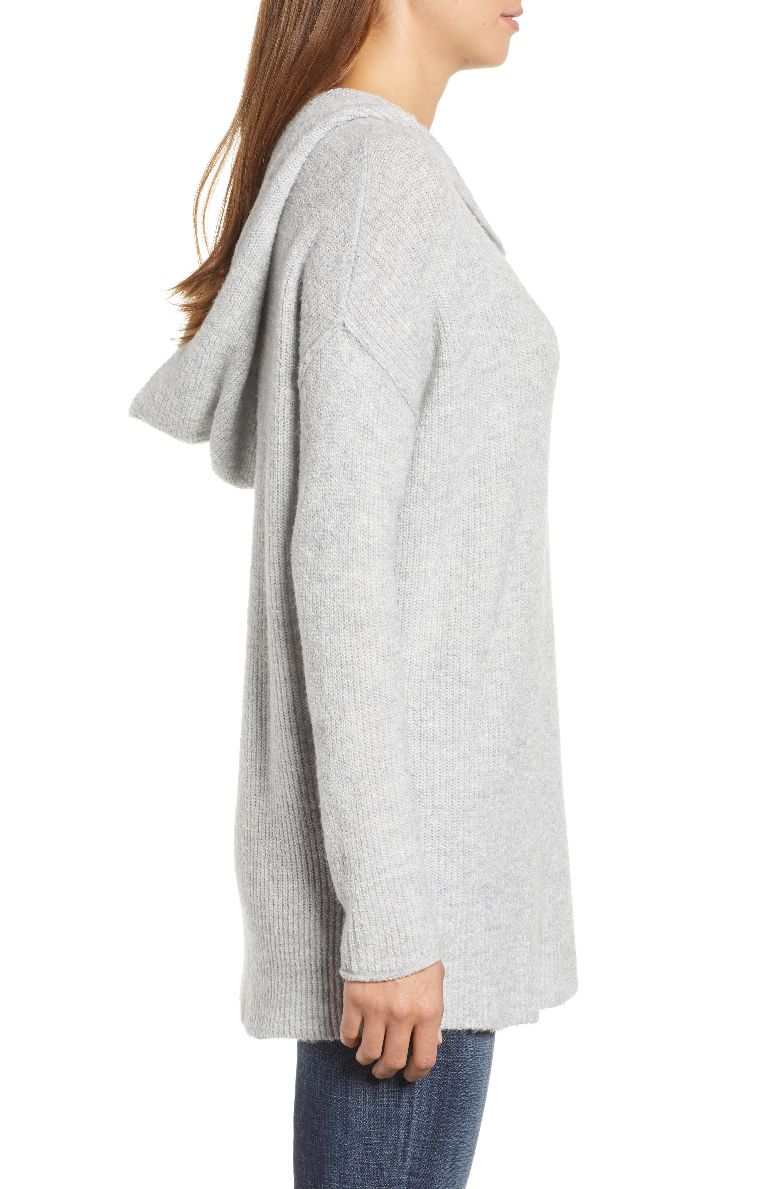 Side Button Hooded Sweater,                             Alternate thumbnail 3, color,                             GREY LIGHT HEATHER