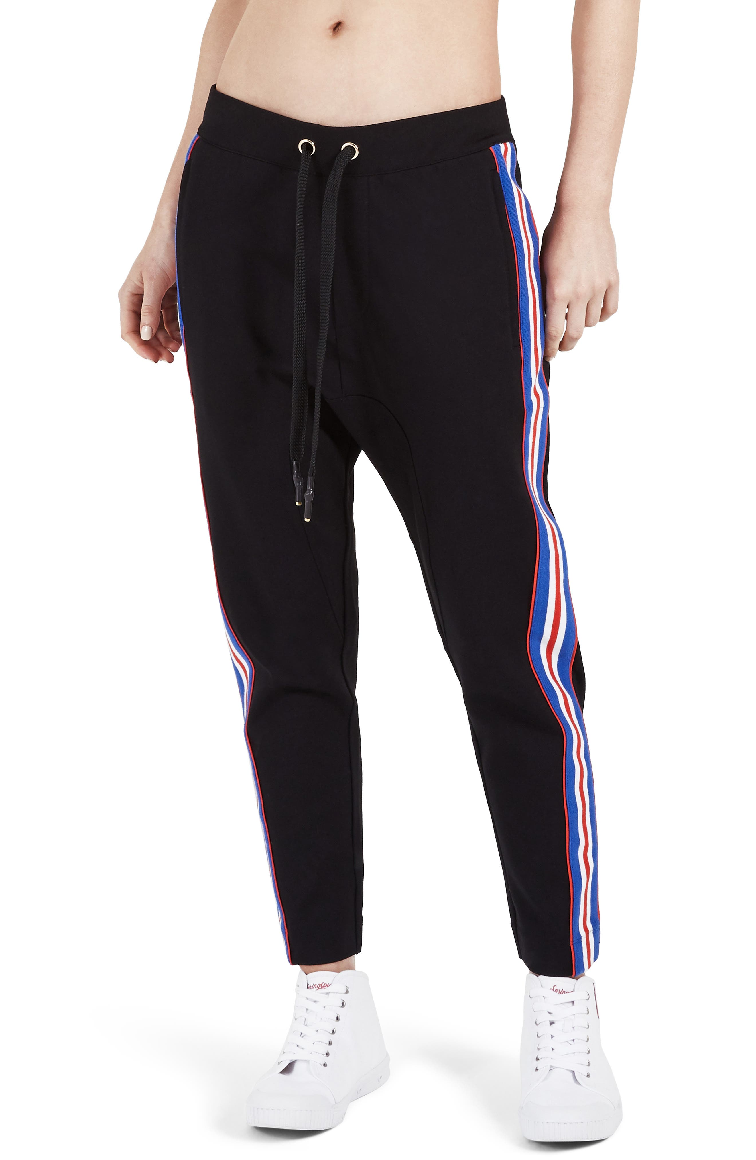 P.E NATION Court Run Ankle-Length Ponte Pants W/ Side Stripes in Black/ Red/ White/ Blue