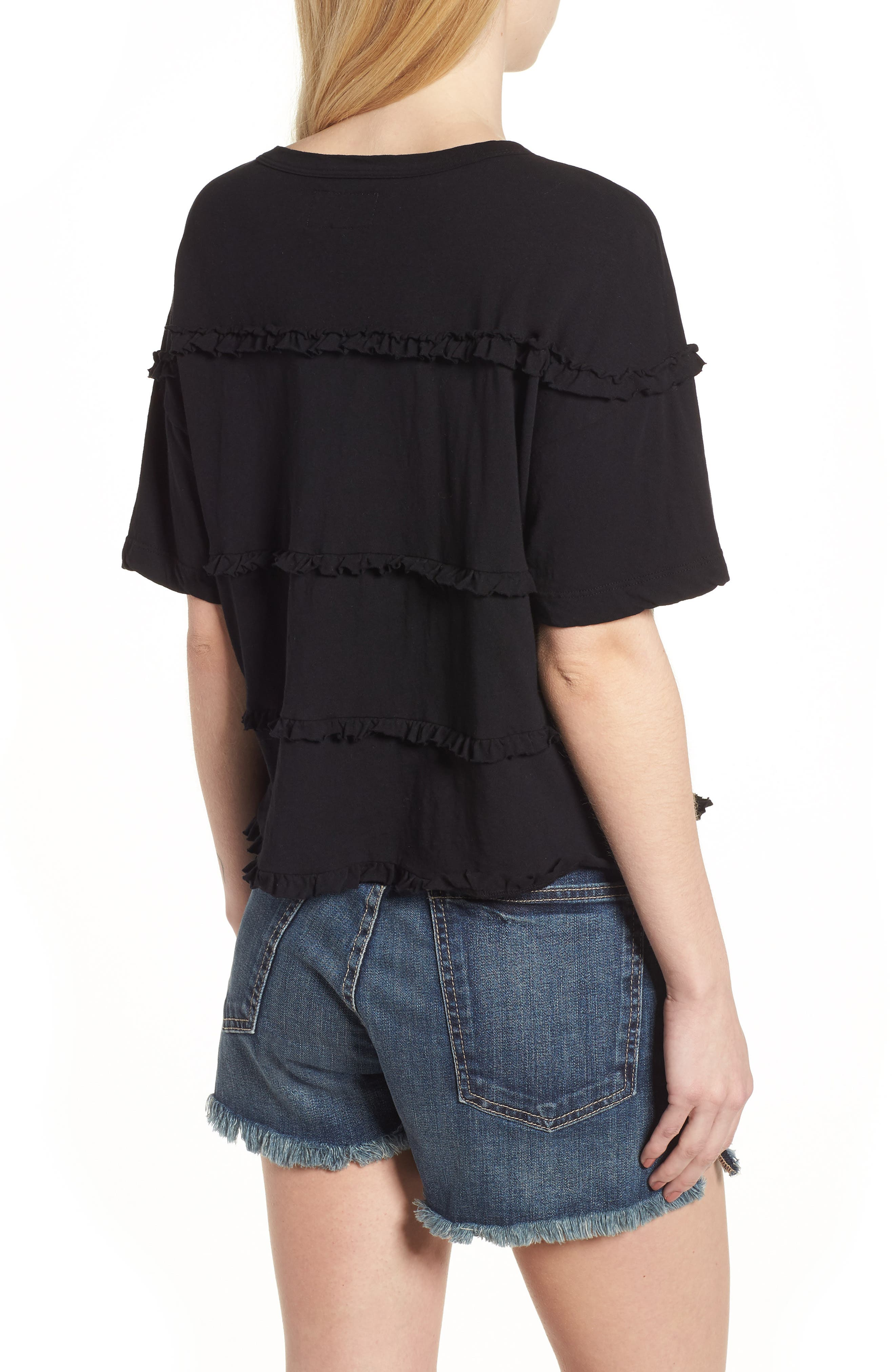 The Claudia Ruffle Tee,                             Alternate thumbnail 2, color,                             001