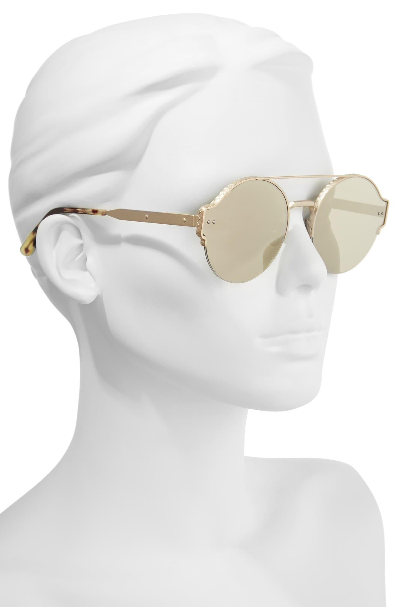 54mm Round Semi-Rimless Sunglasses,                             Alternate thumbnail 5, color,