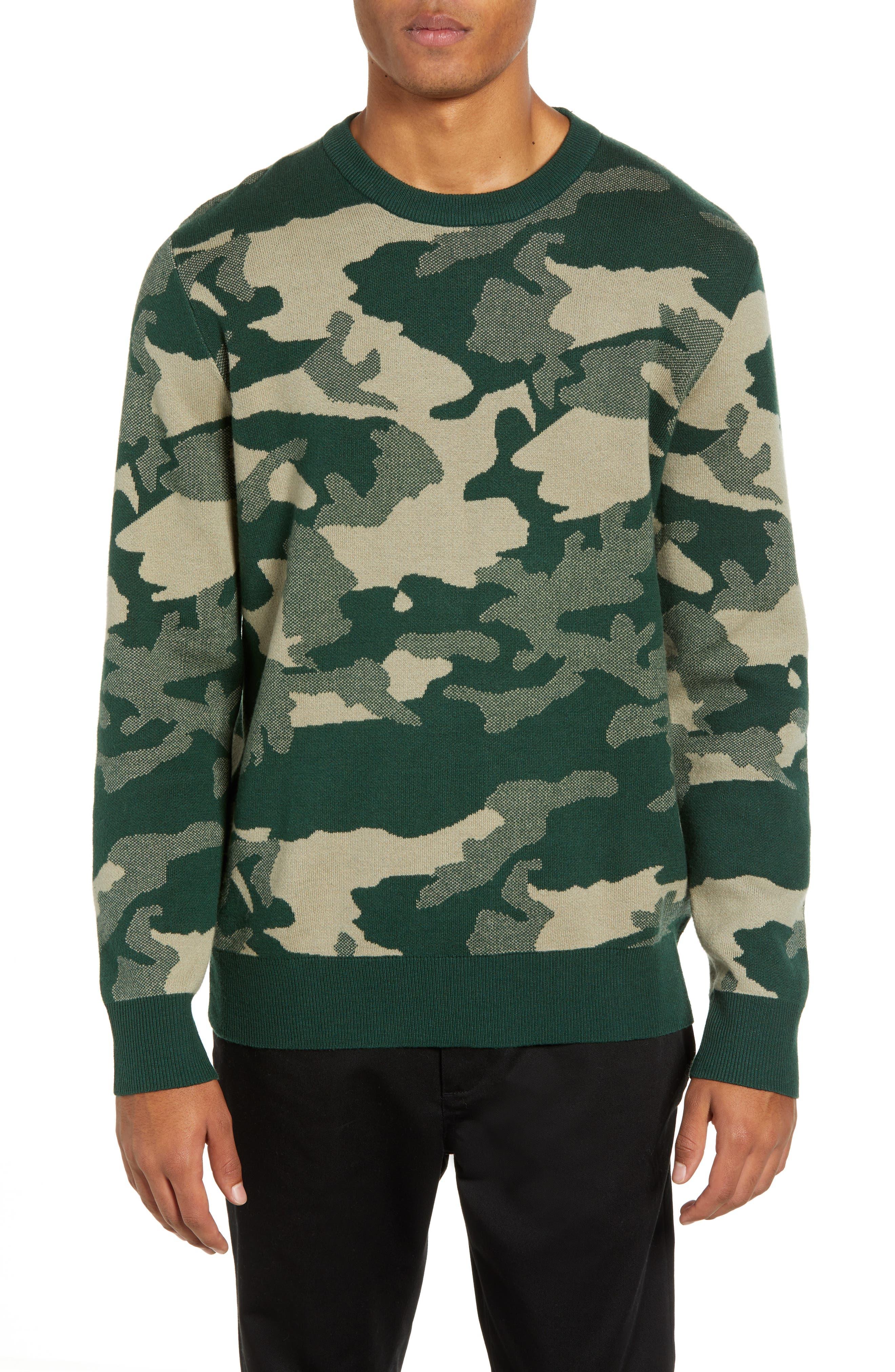 Wesc Anwar Camo Crewneck Sweater, Green