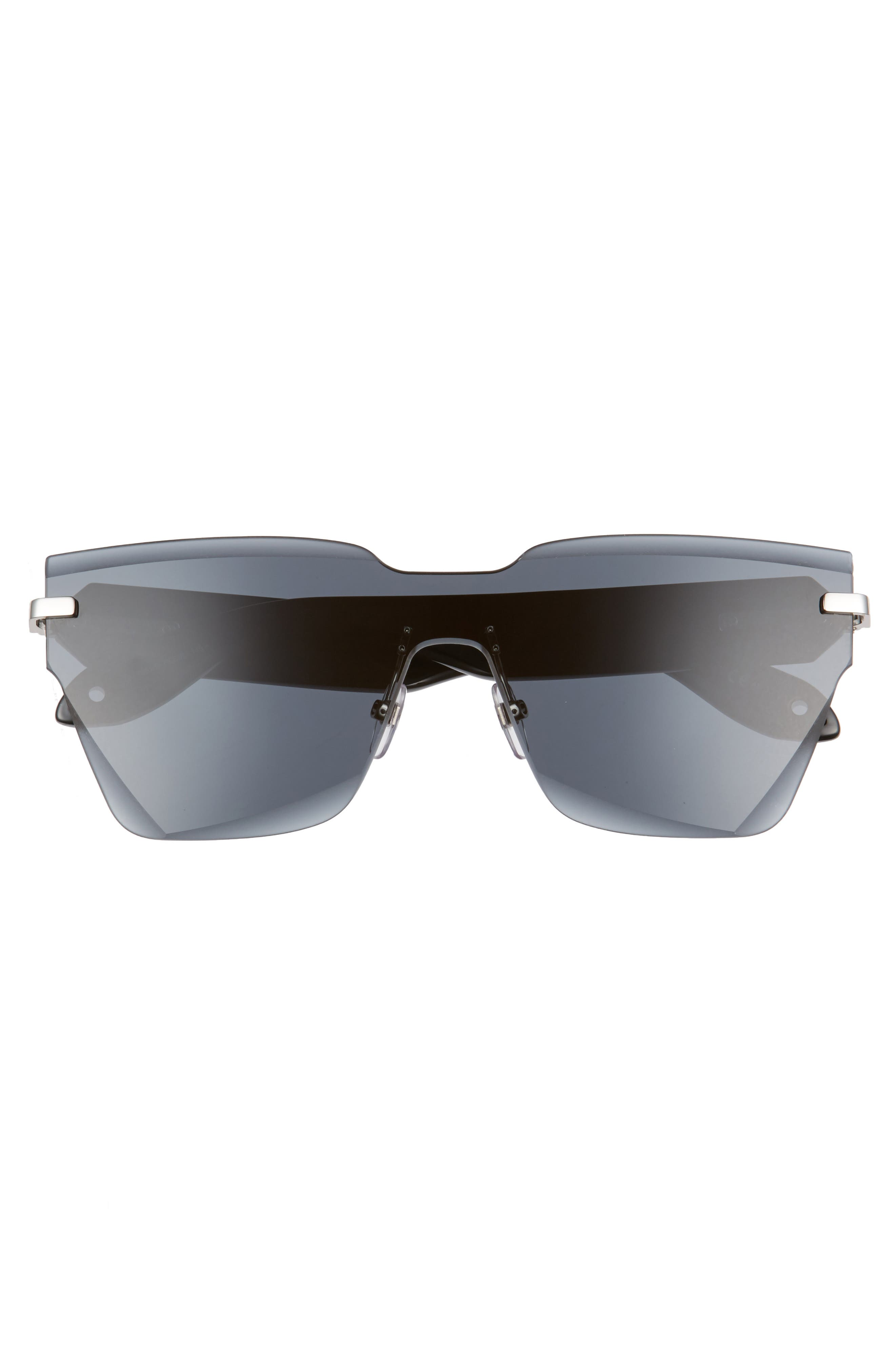 55mm Rimless Shield Sunglasses,                             Alternate thumbnail 3, color,                             GREY BLACK