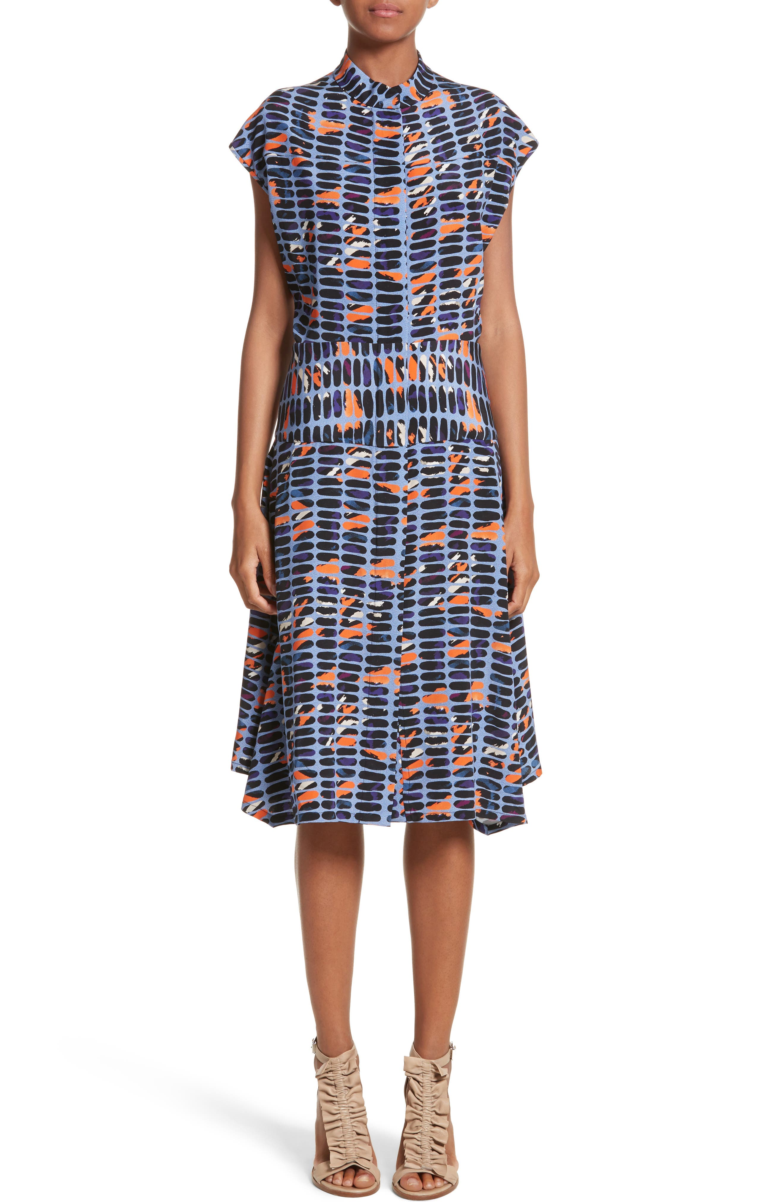 Pill Print Stretch Silk Dress,                         Main,                         color, 465