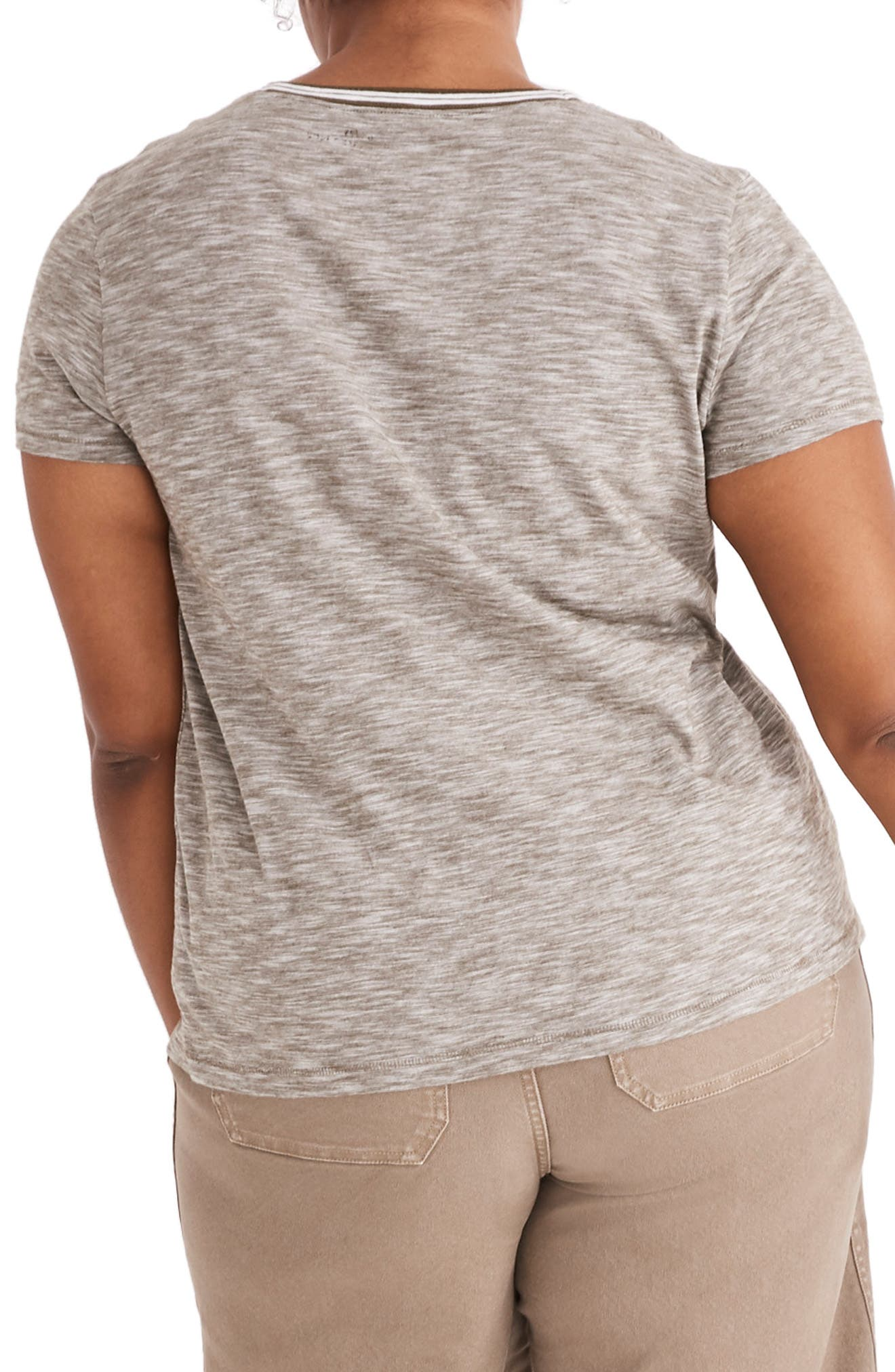 Whisper Cotton Stripe Ringer Tee,                             Alternate thumbnail 6, color,                             301