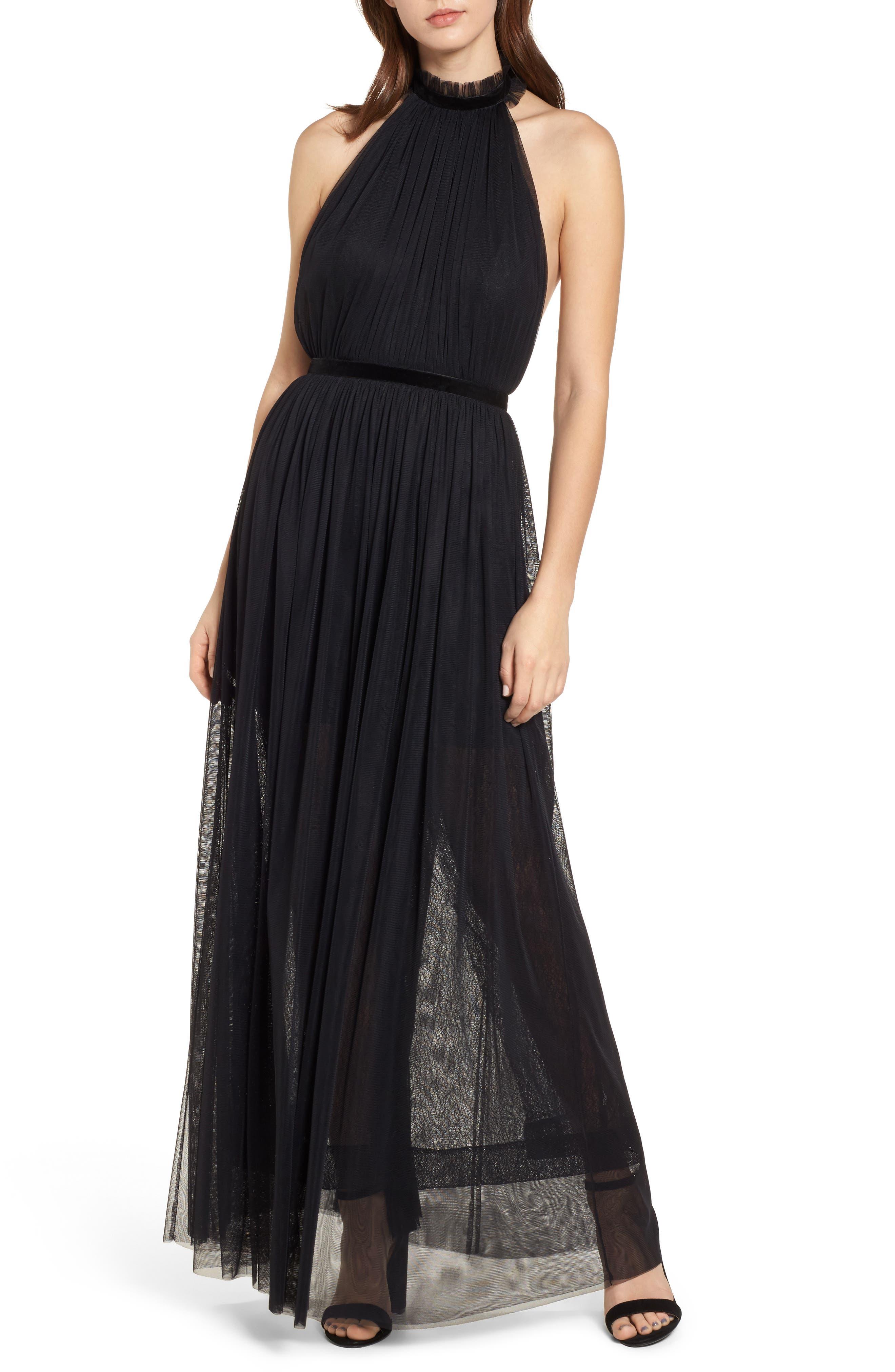 Taylor Halter Maxi Dress,                             Main thumbnail 1, color,                             001