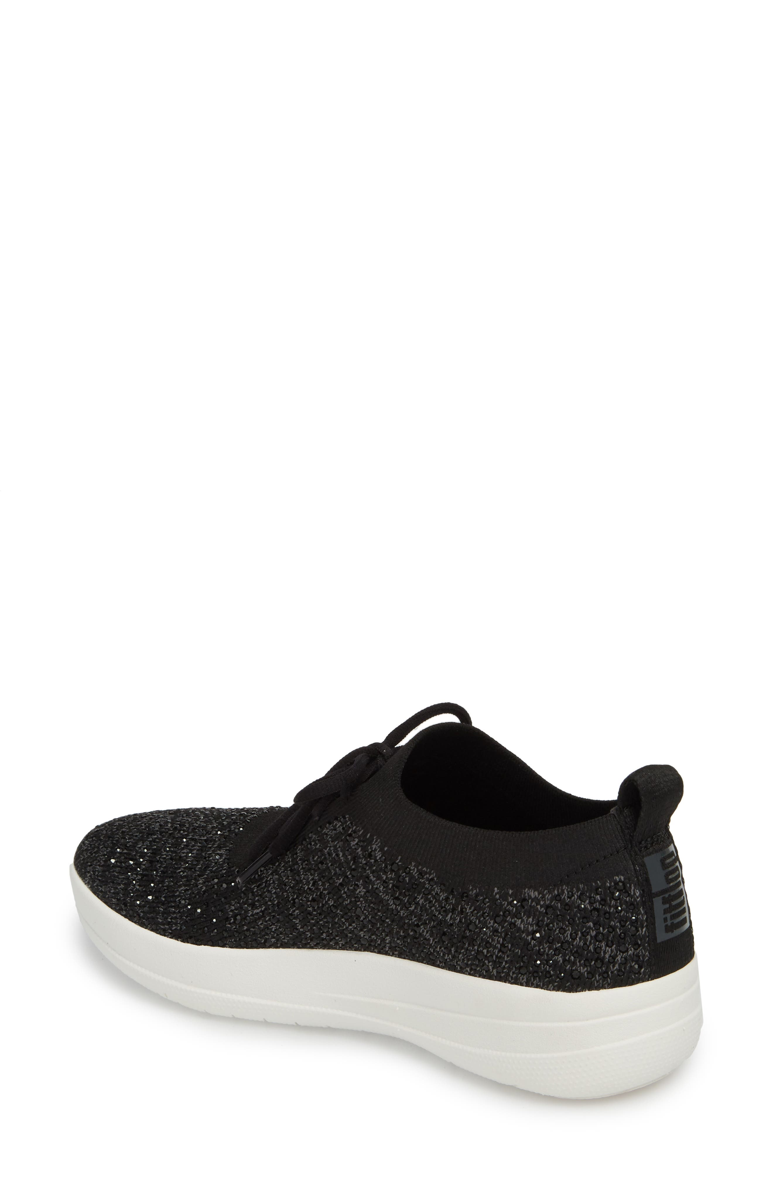 Uberknit<sup>™</sup> F-Sporty Sneaker,                             Alternate thumbnail 2, color,                             BLACK LEATHER