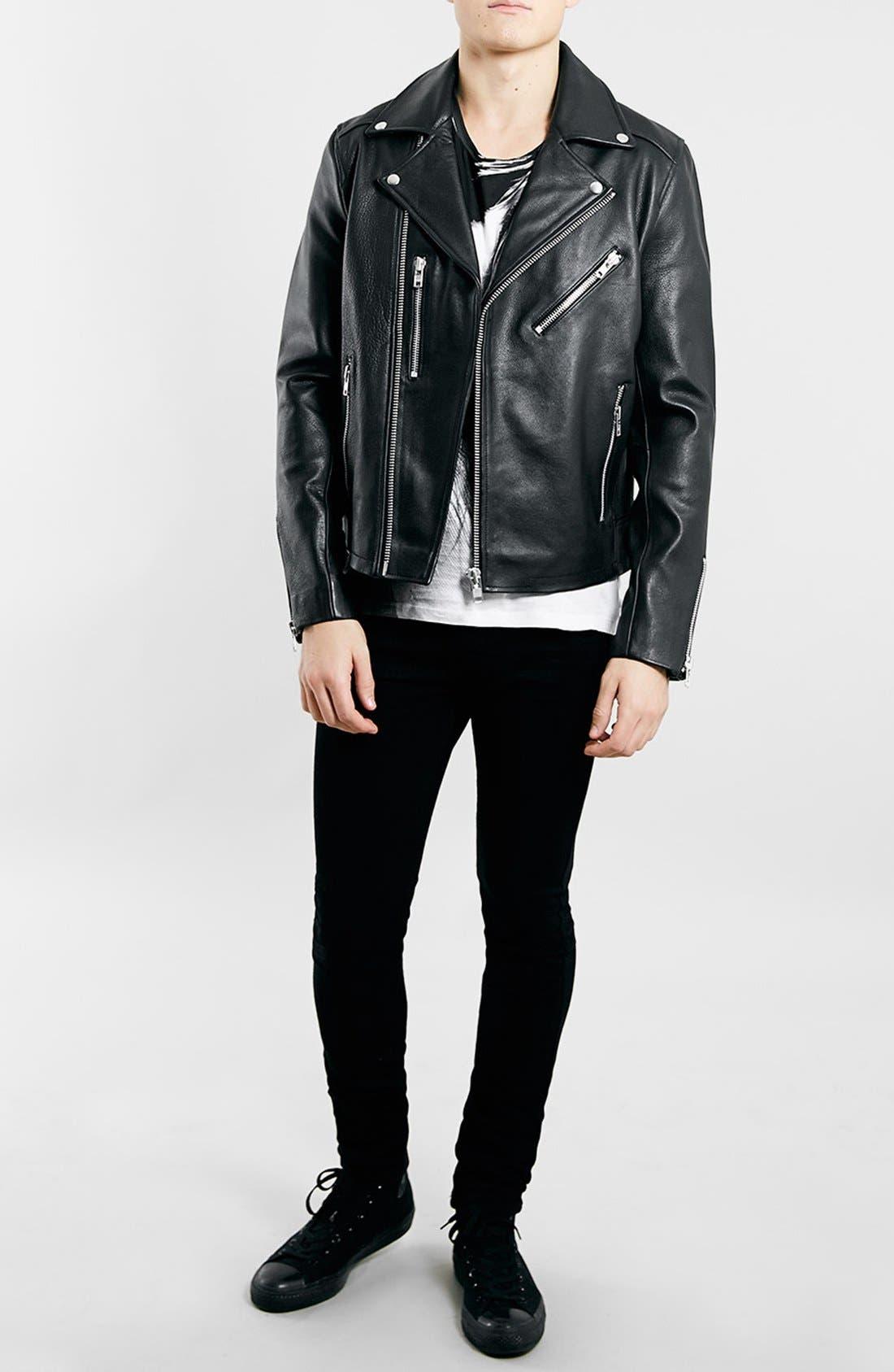 TOPMAN,                             Black Leather Biker Jacket,                             Alternate thumbnail 3, color,                             001