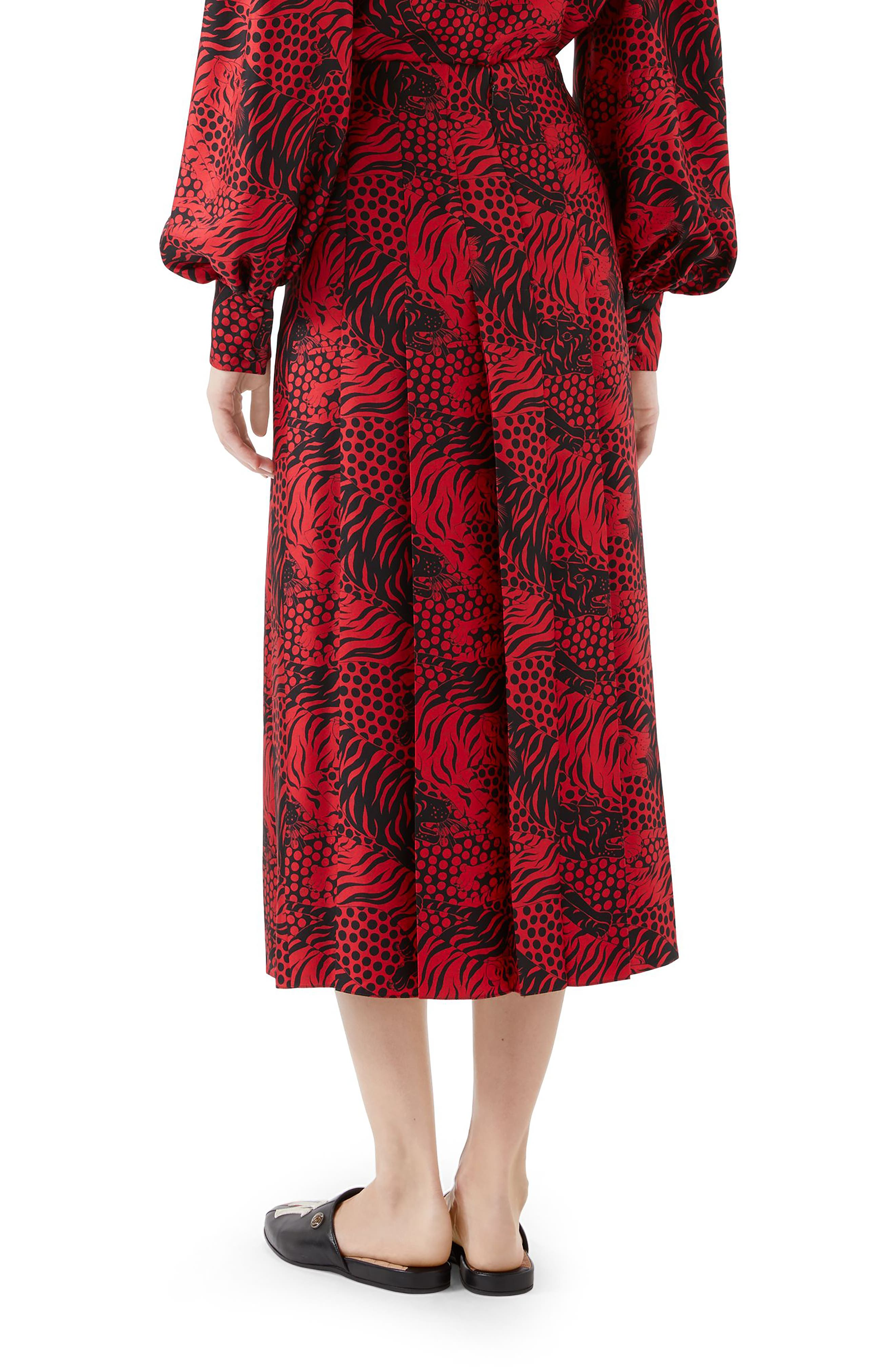 Tiger Print Pleated Silk Skirt,                             Alternate thumbnail 2, color,                             RED