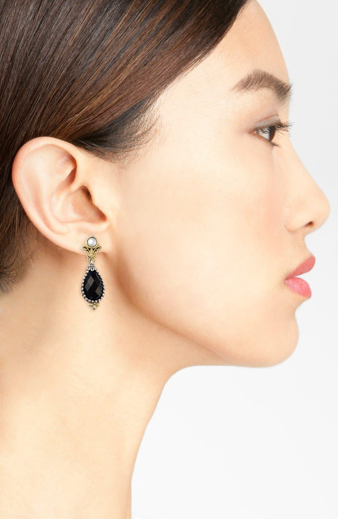 'Nykta' Pearl & Black Onyx Drop Earrings,                             Alternate thumbnail 2, color,                             SILVER/ GOLD/ PEARL
