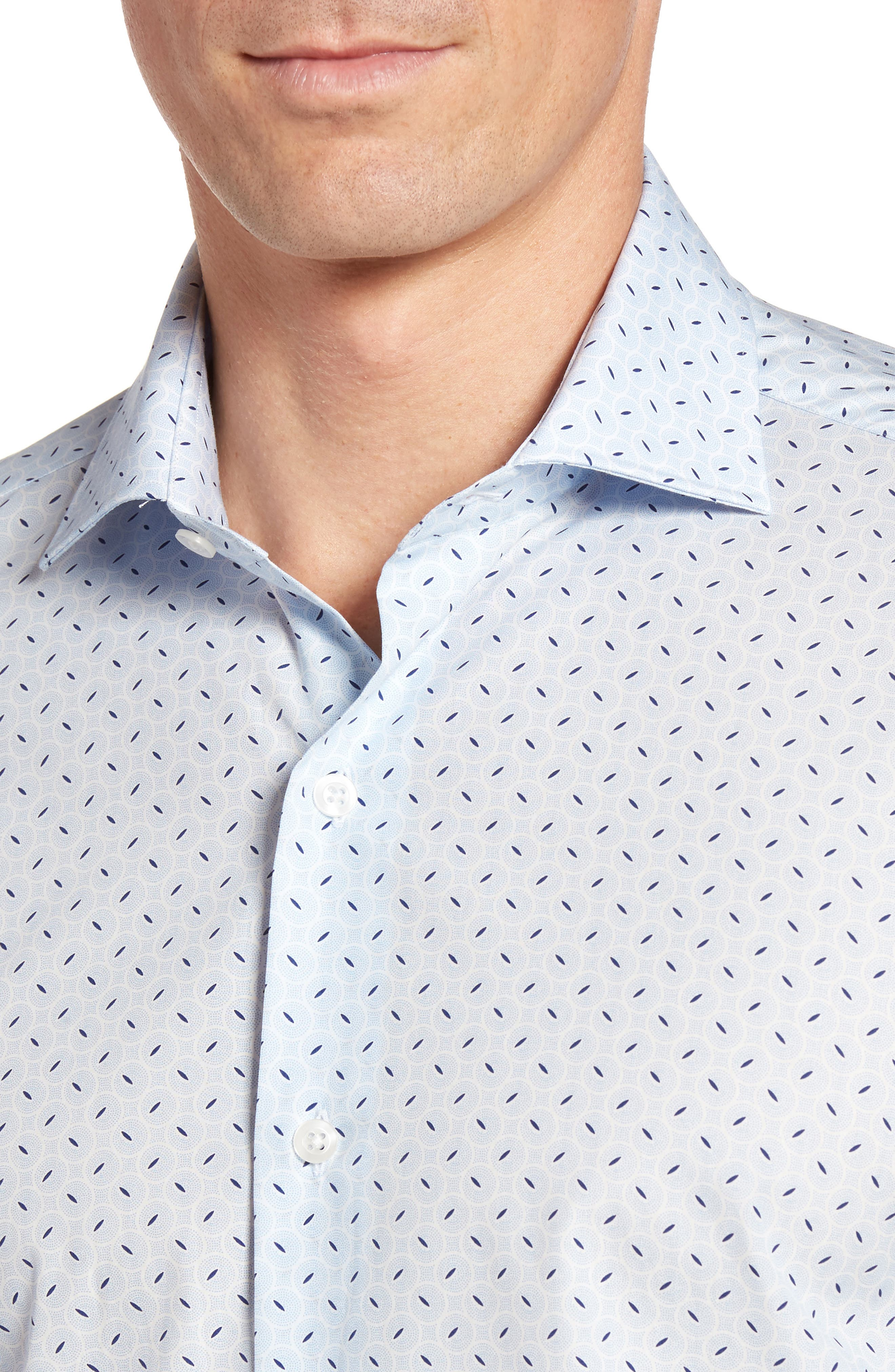 Slim Fit Retro Print Sport Shirt,                             Alternate thumbnail 4, color,                             400