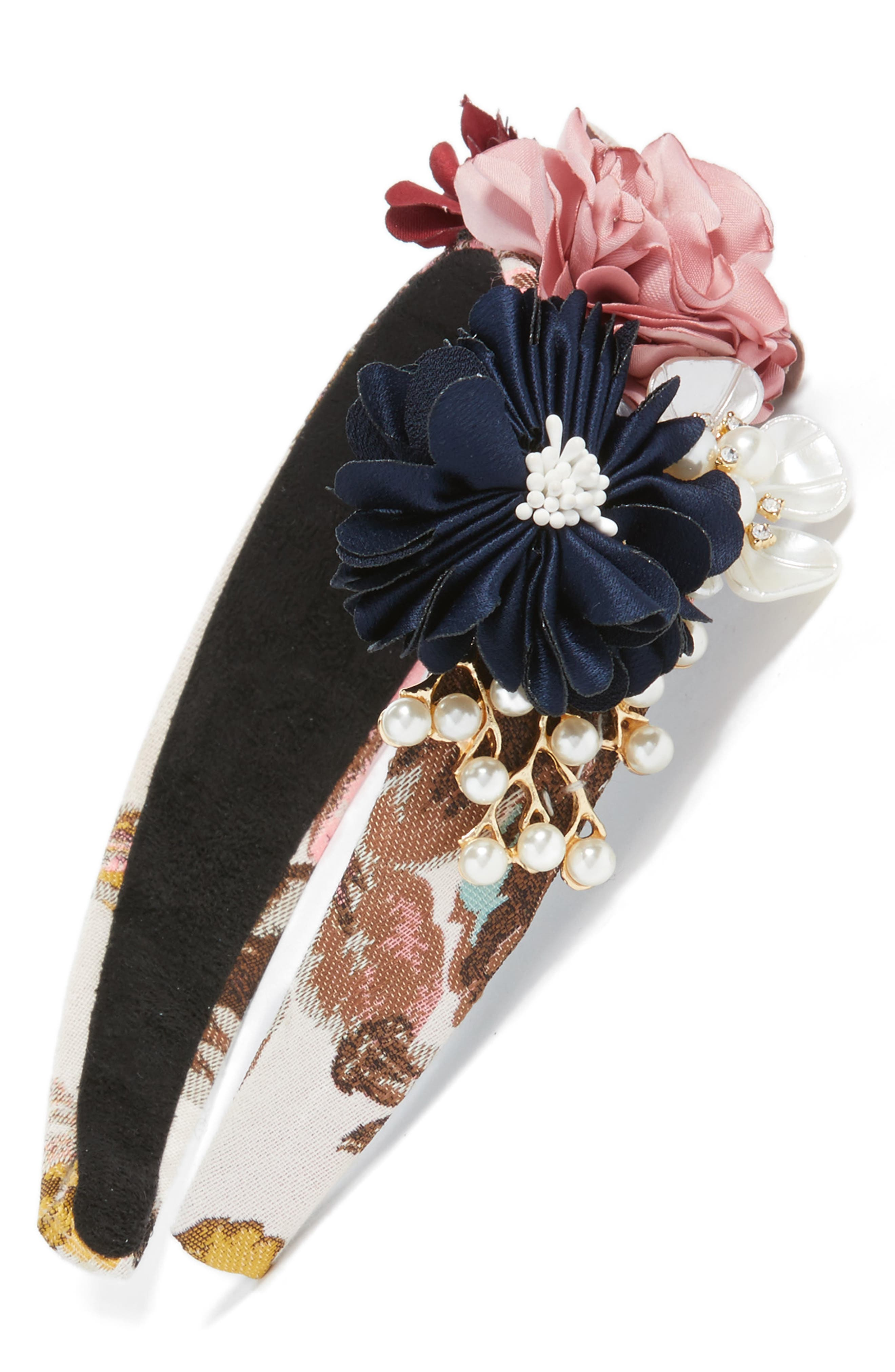 Floral Brocade Headband,                             Main thumbnail 2, color,