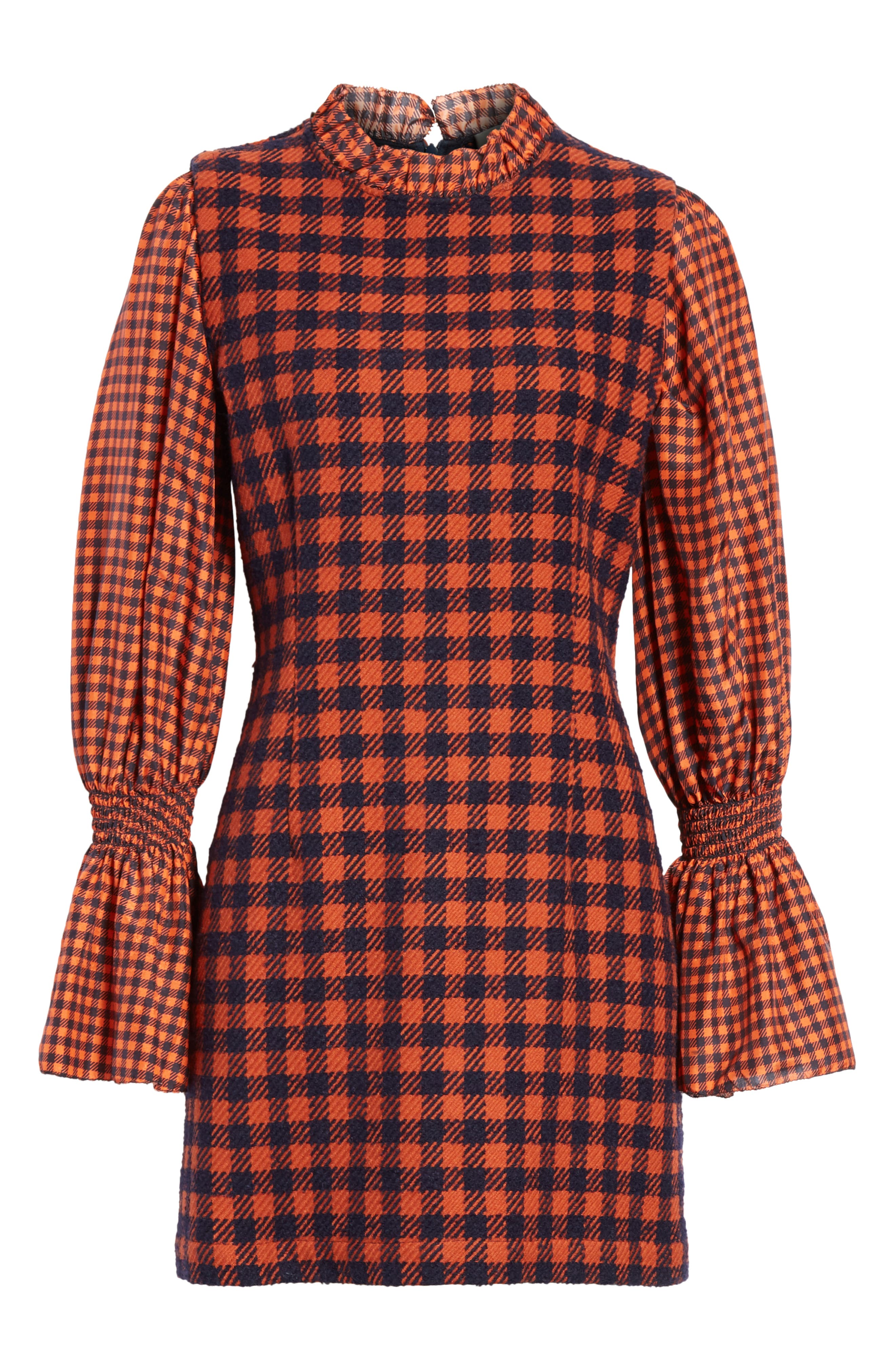 Ethno Pop Checkered Combo Dress,                             Alternate thumbnail 6, color,                             800