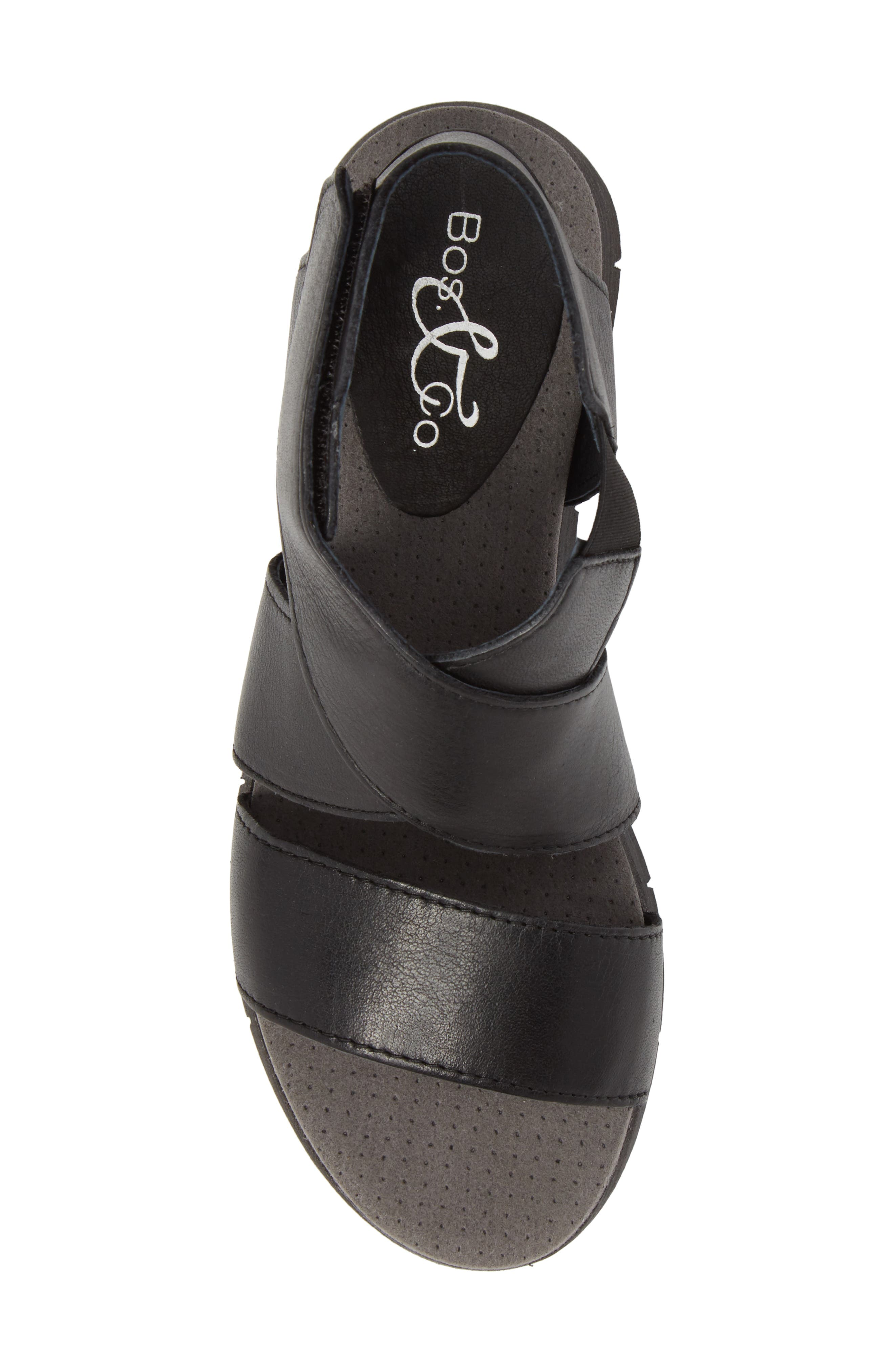 Piper Wedge Sandal,                             Alternate thumbnail 5, color,                             BLACK SAUVAGE LEATHER
