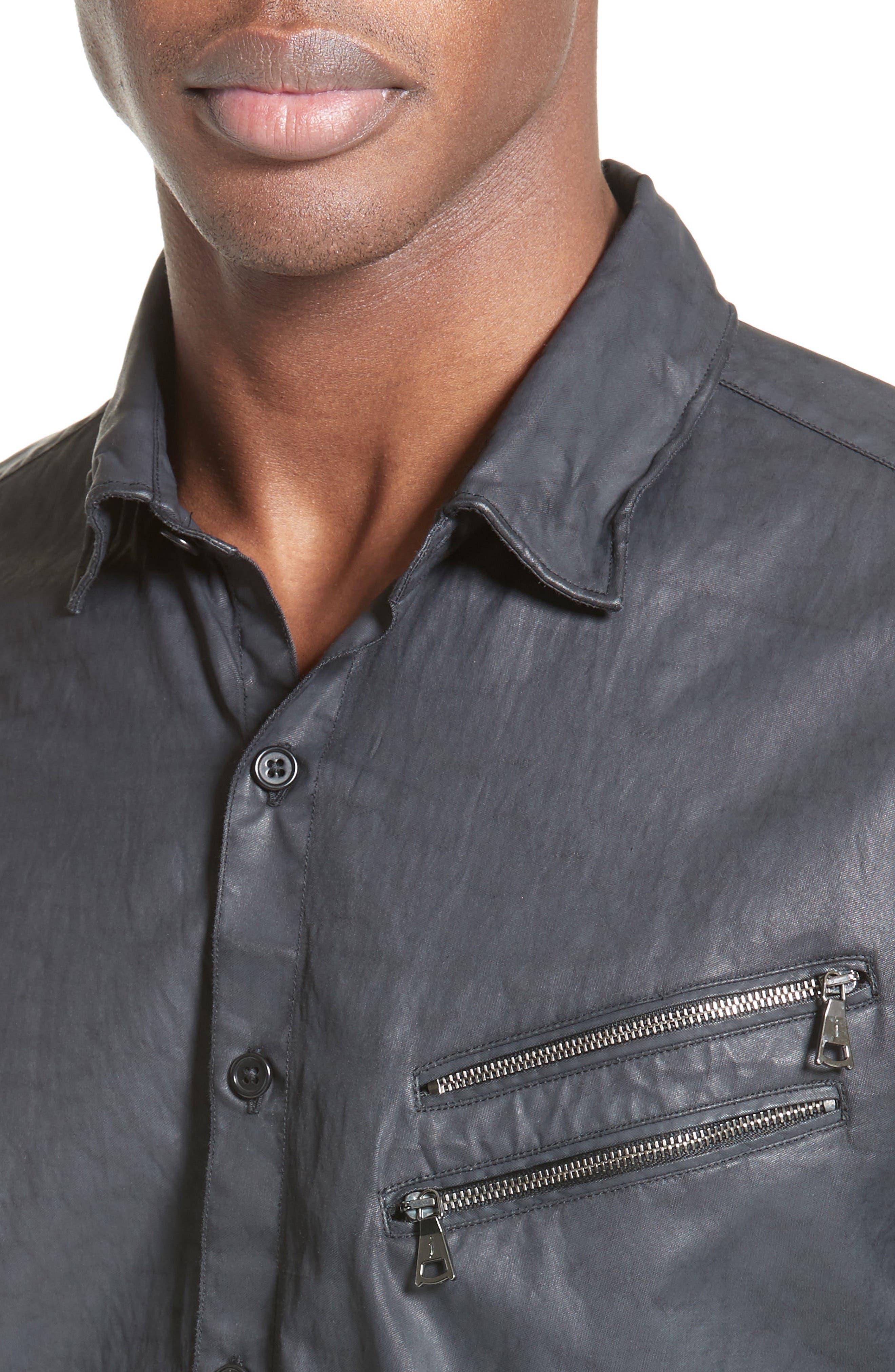 Double Zip Pocket Coated Shirt,                             Alternate thumbnail 5, color,                             490