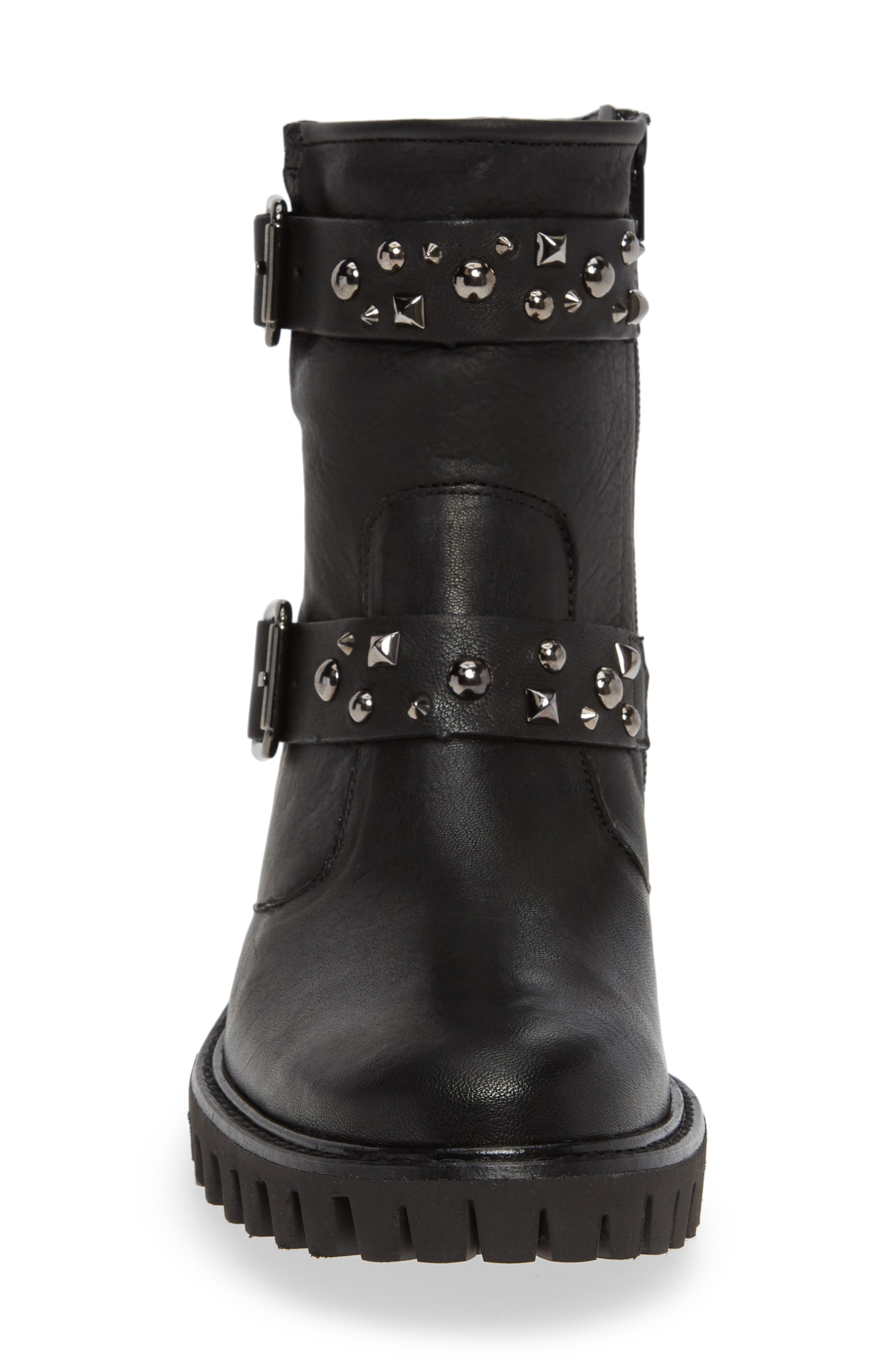 Veronia Studded Buckle Boot,                             Alternate thumbnail 4, color,                             BLACK LEATHER
