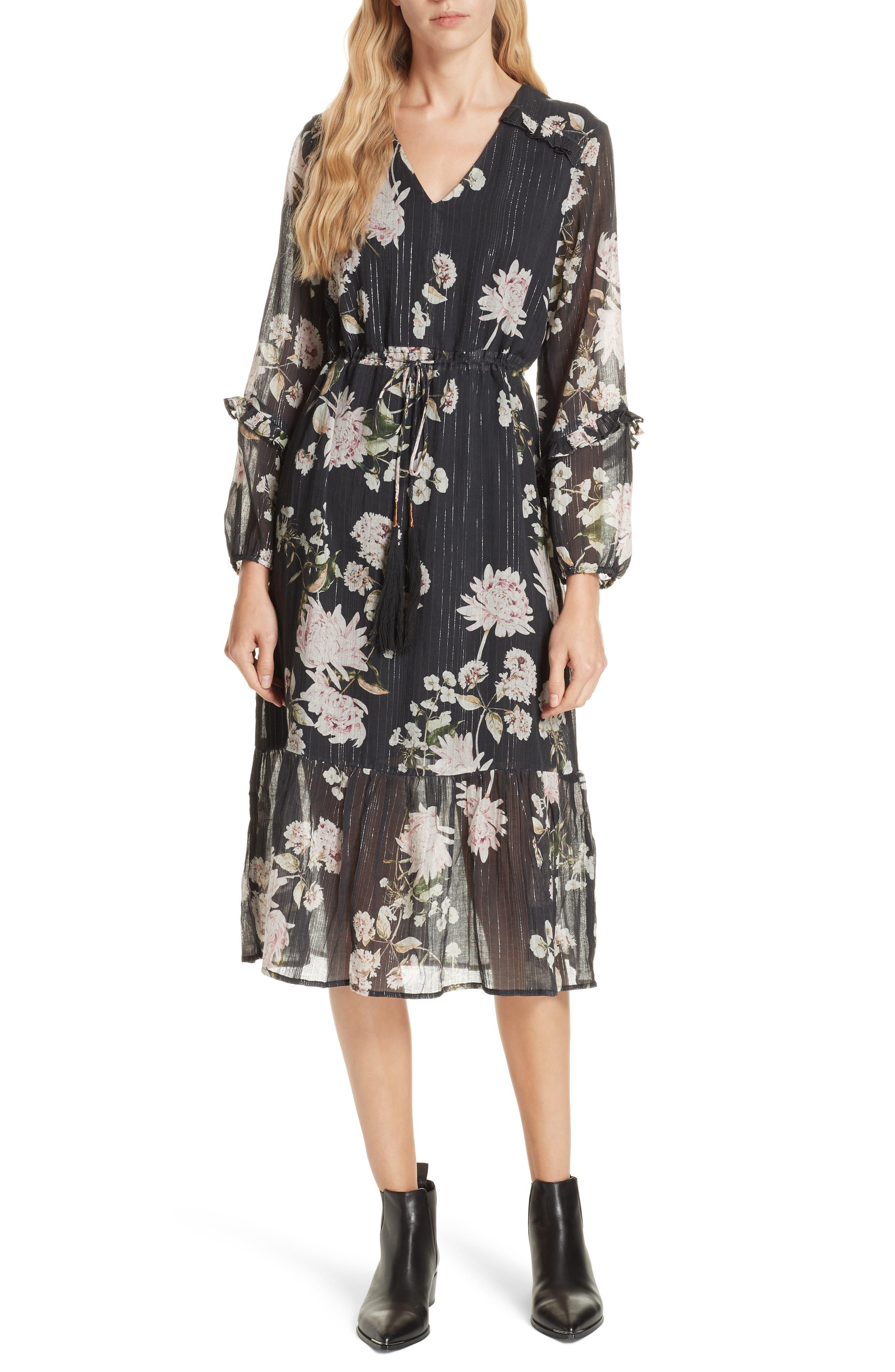 Ruffled Floral Midi Dress,                             Main thumbnail 1, color,                             BLACK CHRYSANTHEMUM