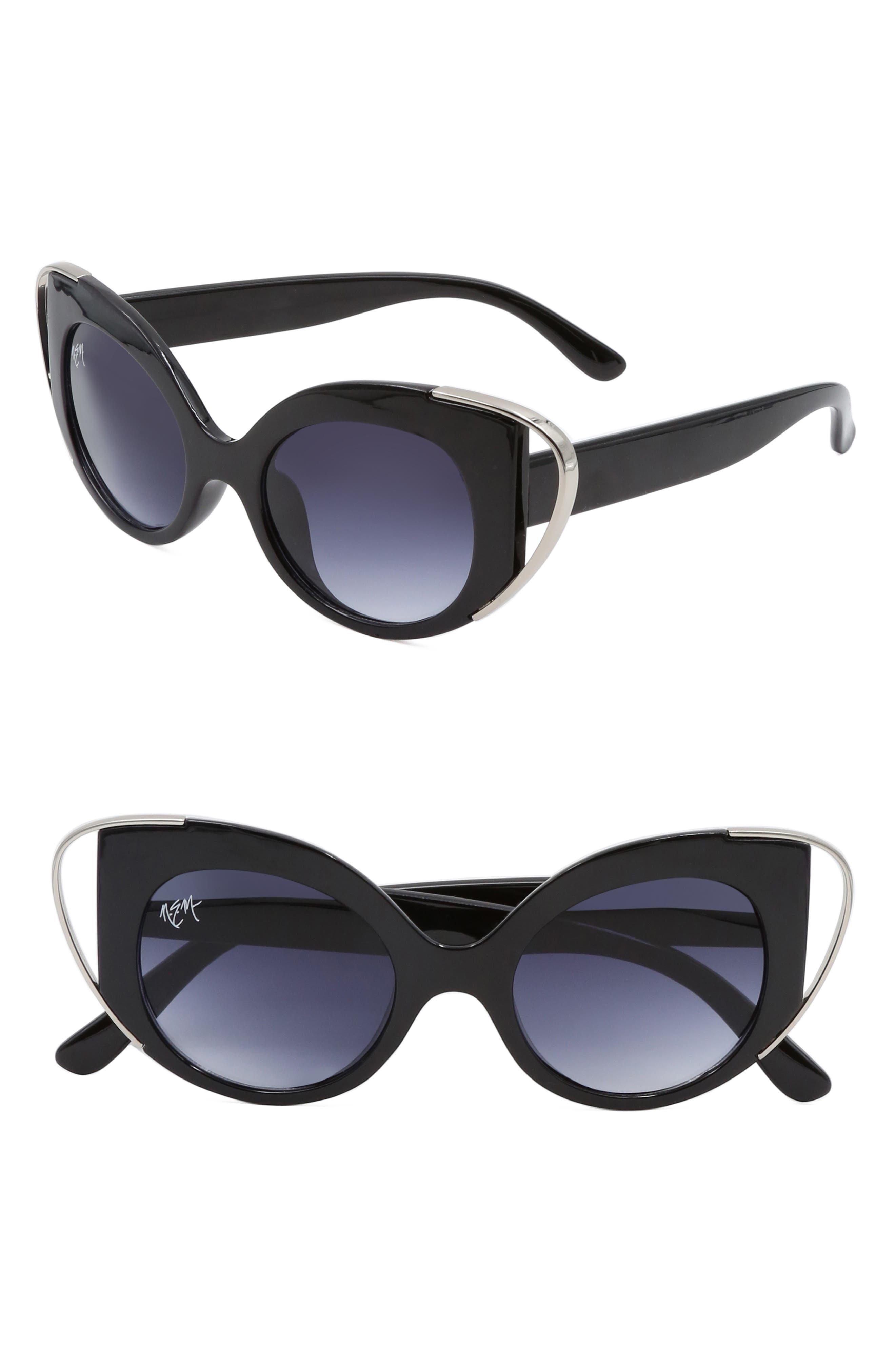 Nem Audrey 50Mm Cutout Cat Eye Sunglasses - Black W Grey Gradient Lens