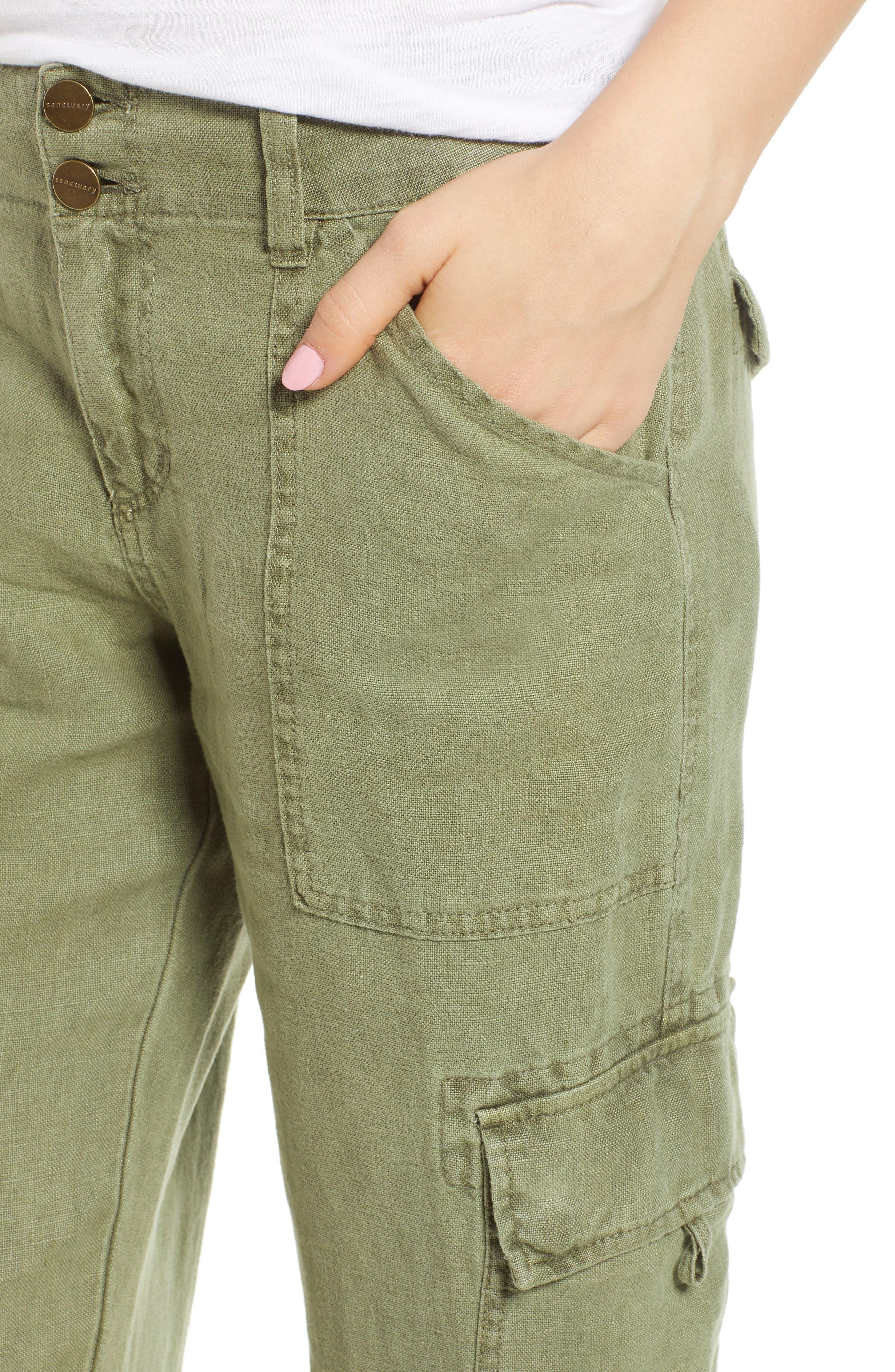 Terrain Linen Crop Cargo Pants,                             Alternate thumbnail 31, color,