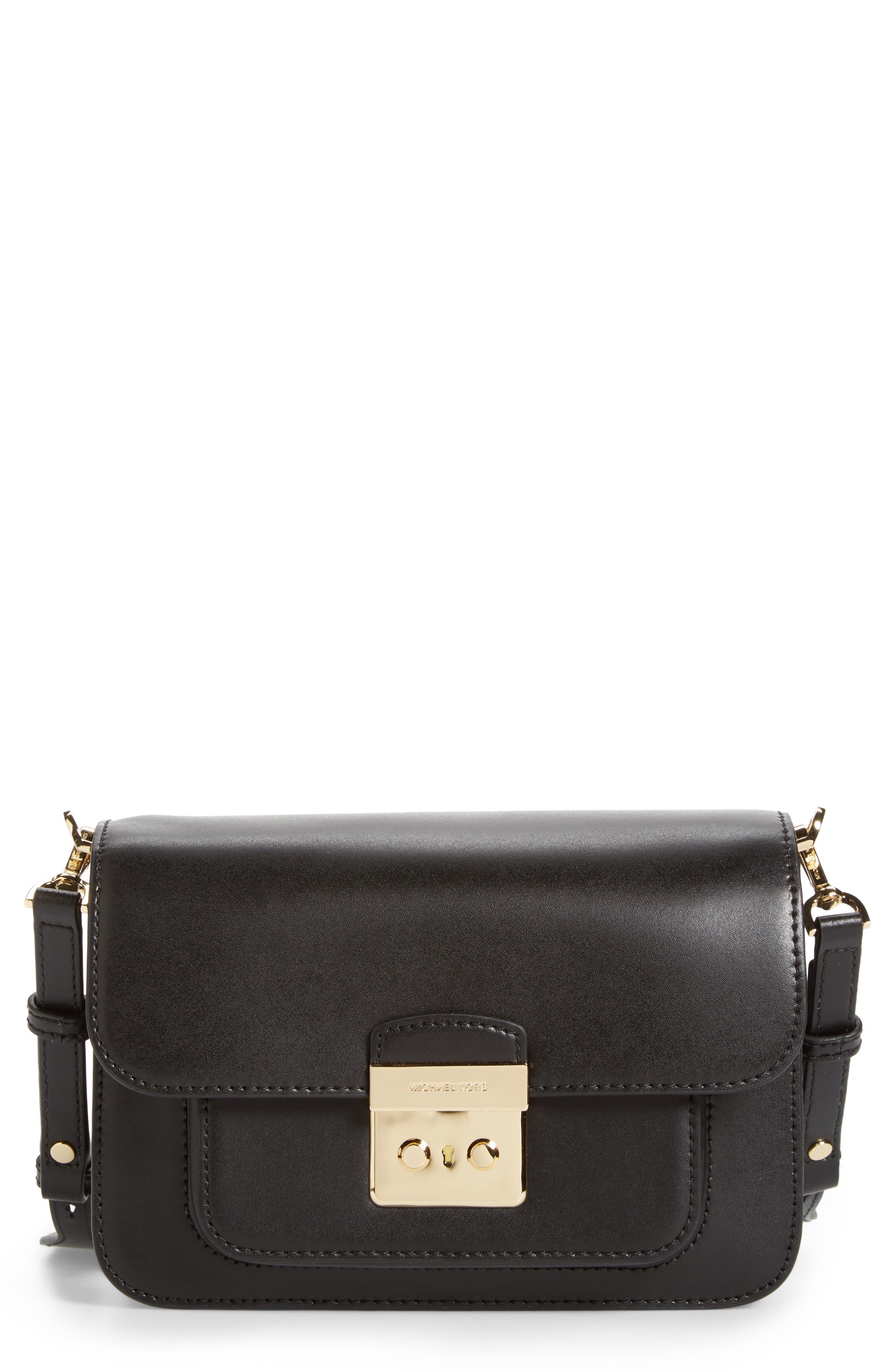 Large Sloan Editor Leather Shoulder Bag,                             Main thumbnail 1, color,                             BLACK