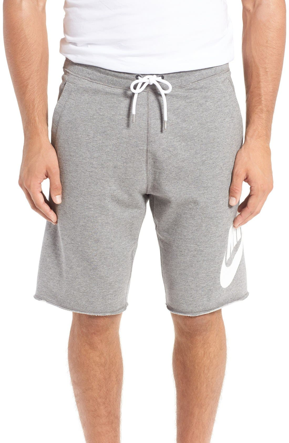 'NSW' Logo French Terry Shorts,                         Main,                         color, CARBON HEATHER/ WHITE