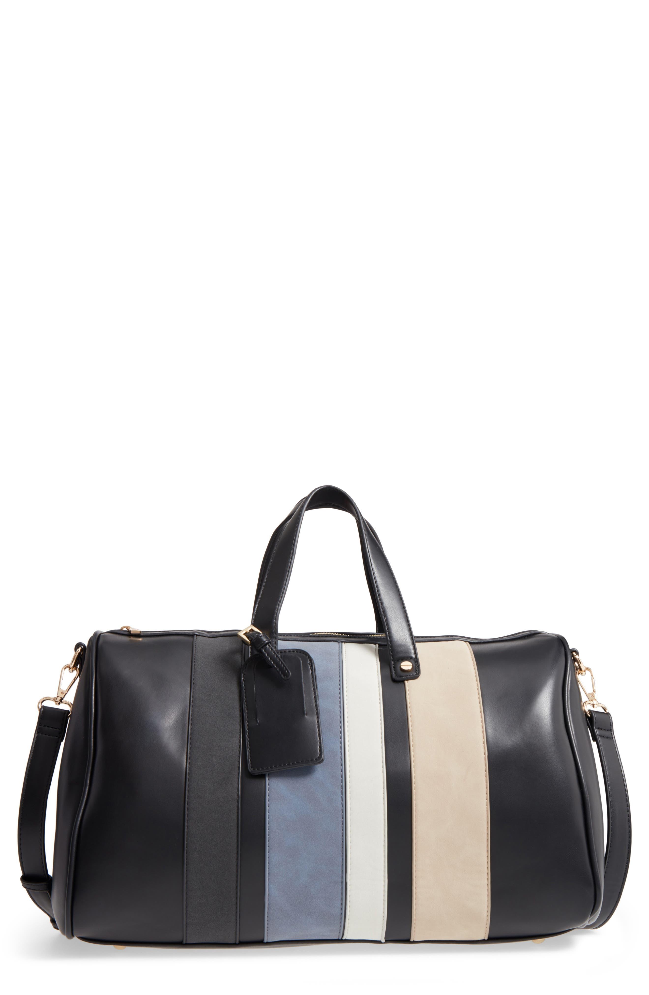 Stripe Faux Leather Duffel Bag,                             Main thumbnail 1, color,                             001