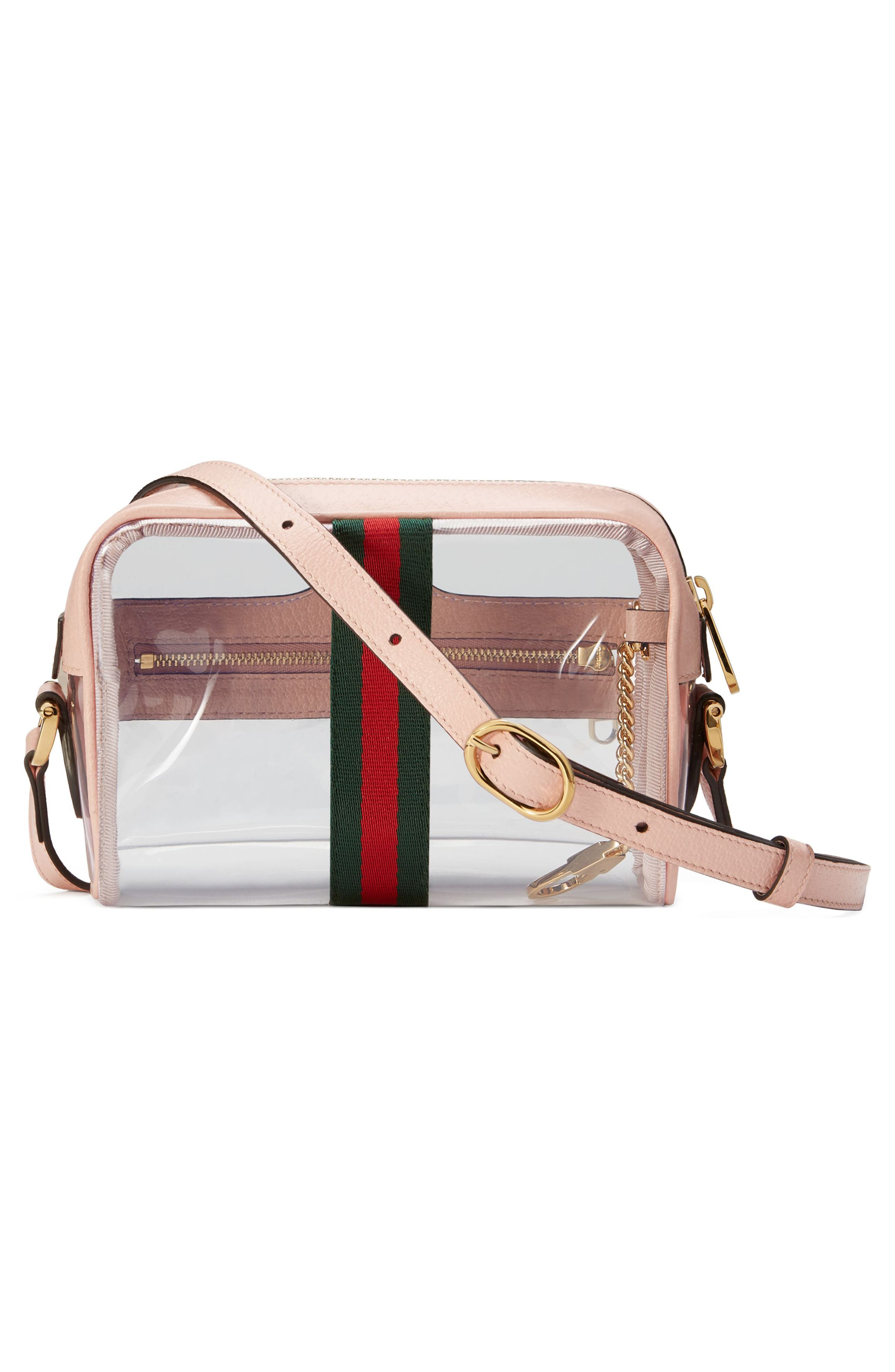 Mini Ophidia Transparent Convertible Bag,                             Alternate thumbnail 2, color,                             PINK/ PERFECT PINK/ VERT RED