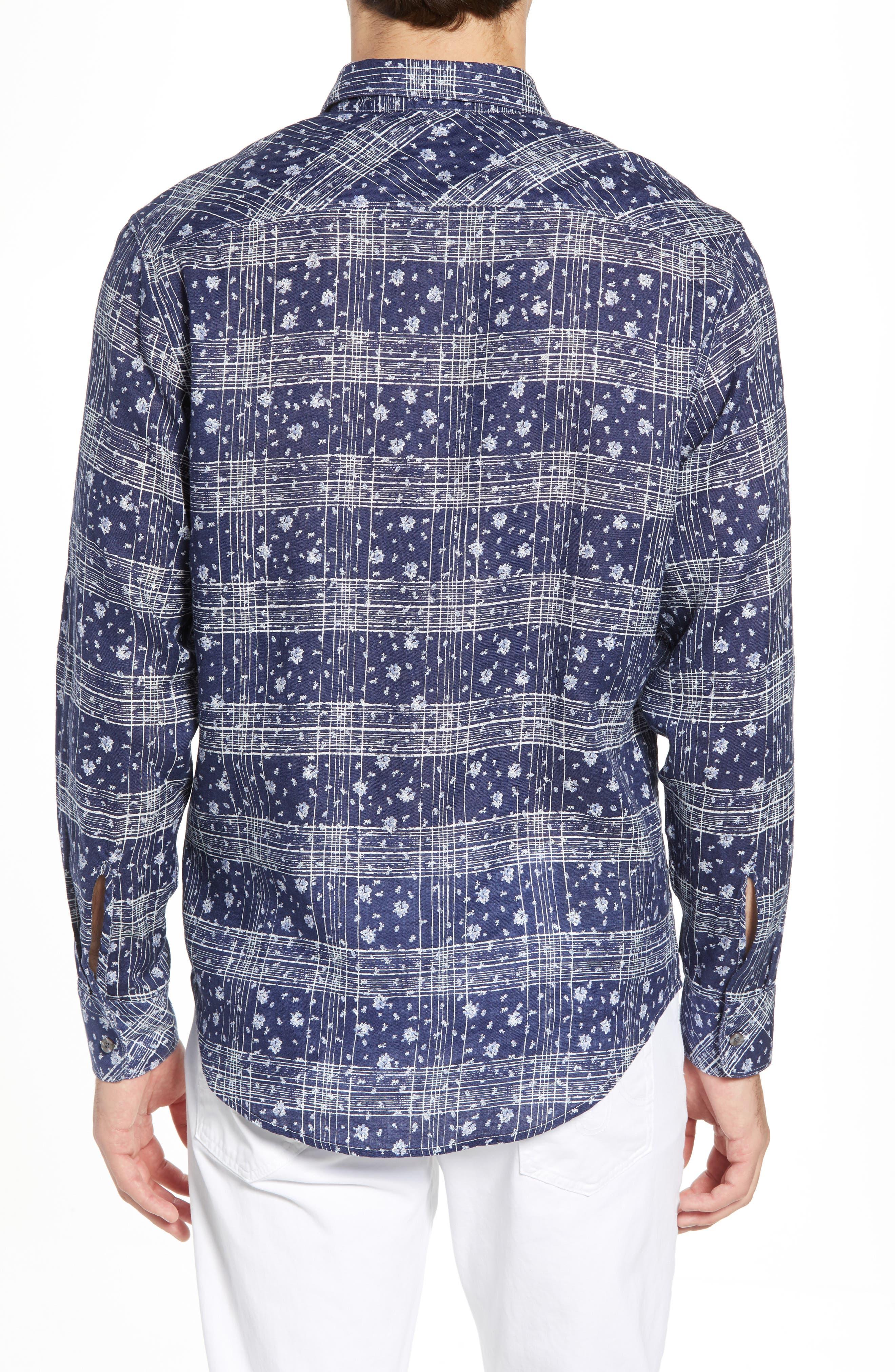 Gustavo Regular Fit Plaid Linen Sport Shirt,                             Alternate thumbnail 2, color,                             OCEAN