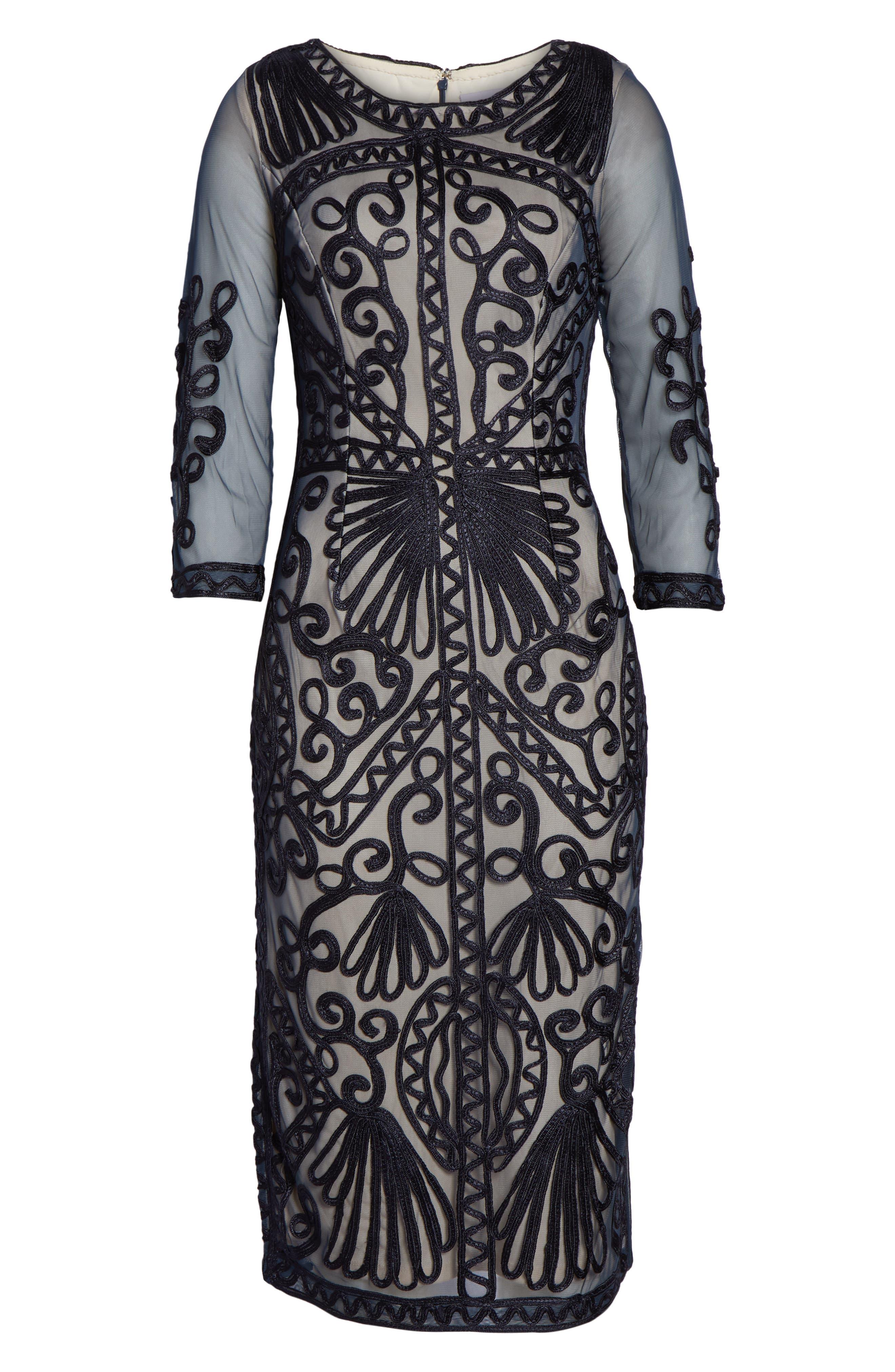 Sheer Sleeve Soutache Sheath Dress,                             Alternate thumbnail 7, color,                             NAVY/ NUDE
