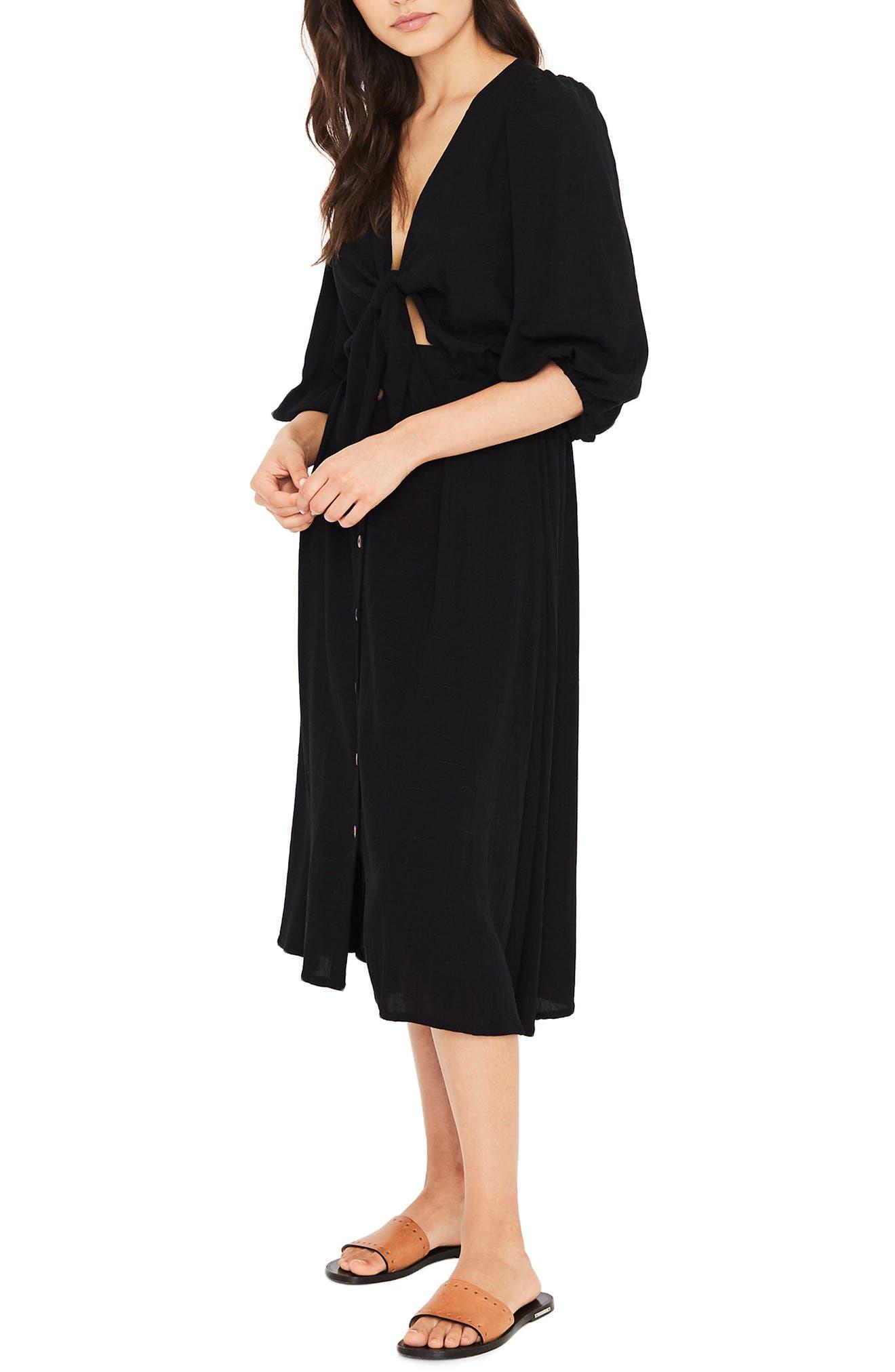 Tobago Tie Front Midi Dress,                             Alternate thumbnail 3, color,                             PLAIN BLACK