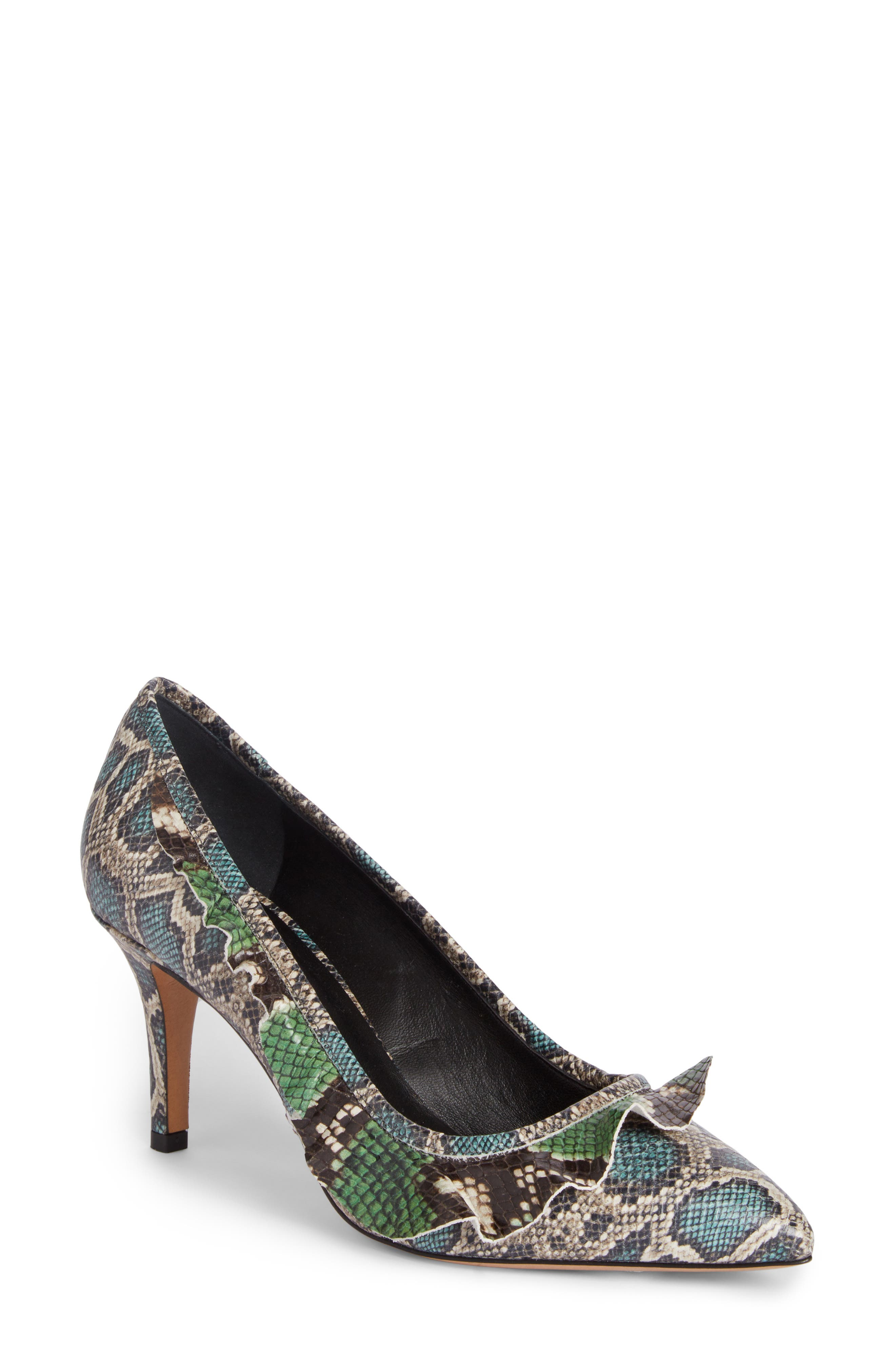 Poween Snakeskin Embossed Ruffle Pump,                         Main,                         color, 300