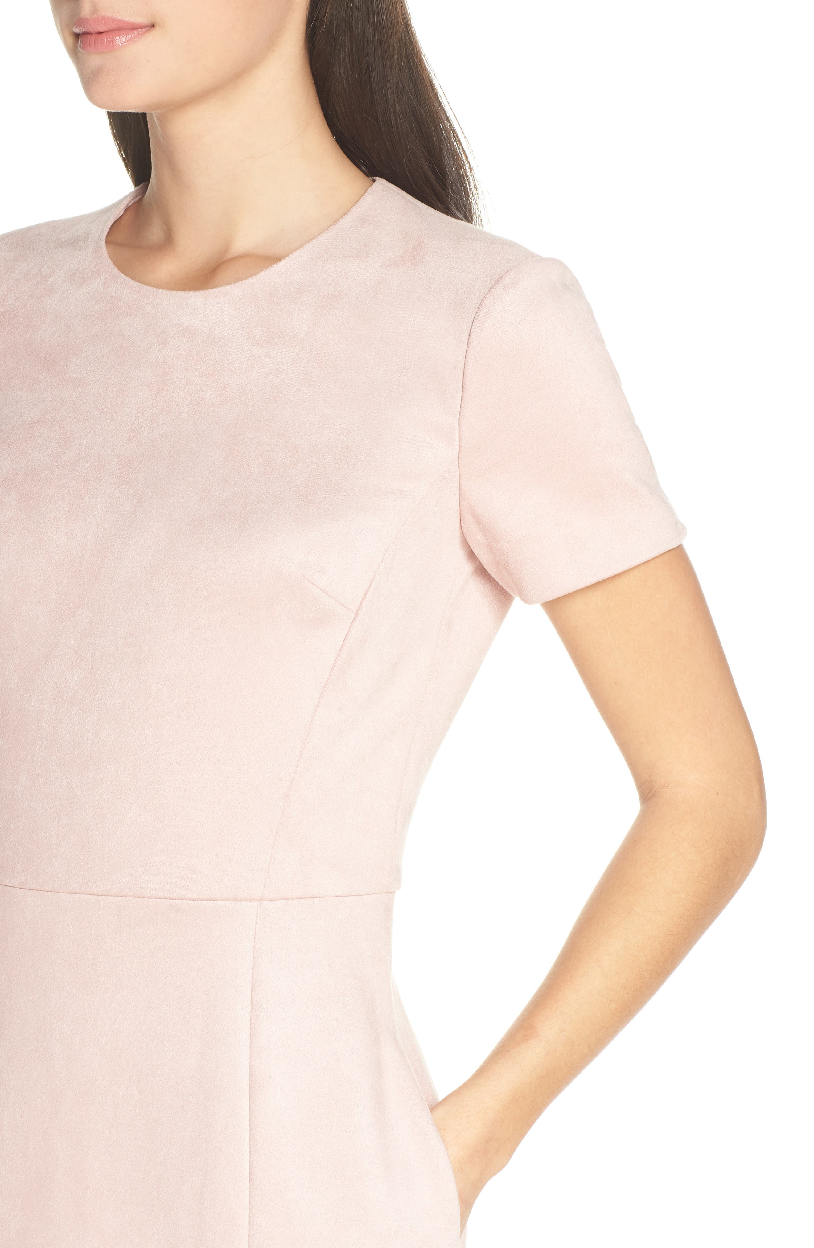 Short Sleeve Faux Suede Dress,                             Alternate thumbnail 4, color,                             TEAGOWN