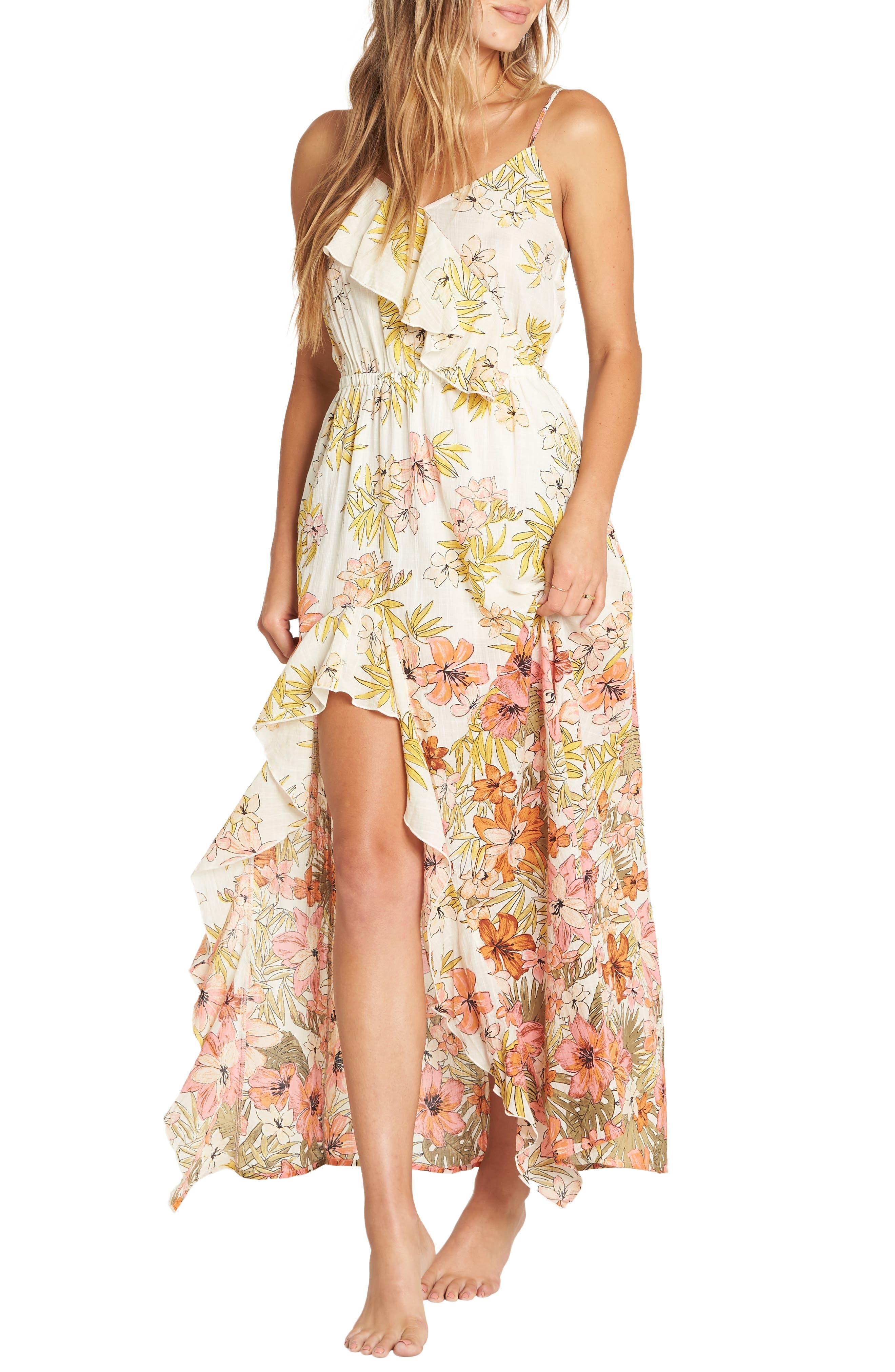 Billabong Hot Nights Floral Print Maxi Dress, Ivory